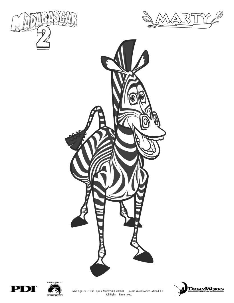 Madagascar 2: Marty Das Zebra Zum Ausmalen Zum Ausmalen serapportantà Zebre Dans Madagascar