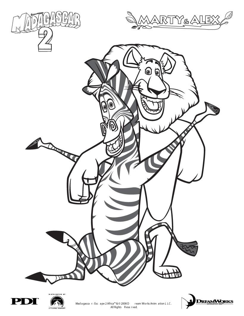 Madagascar 2: Marty Und Alex Zum Ausmalen Zum Ausmalen intérieur Zebre Dans Madagascar