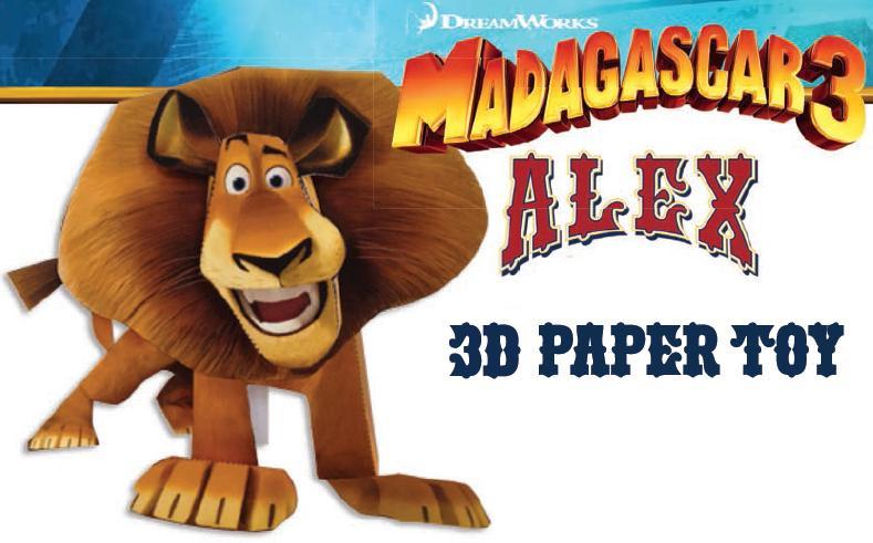 Madagascar 3 Papercraft   Papercraft Paradise dedans Madagascar 3 Alex