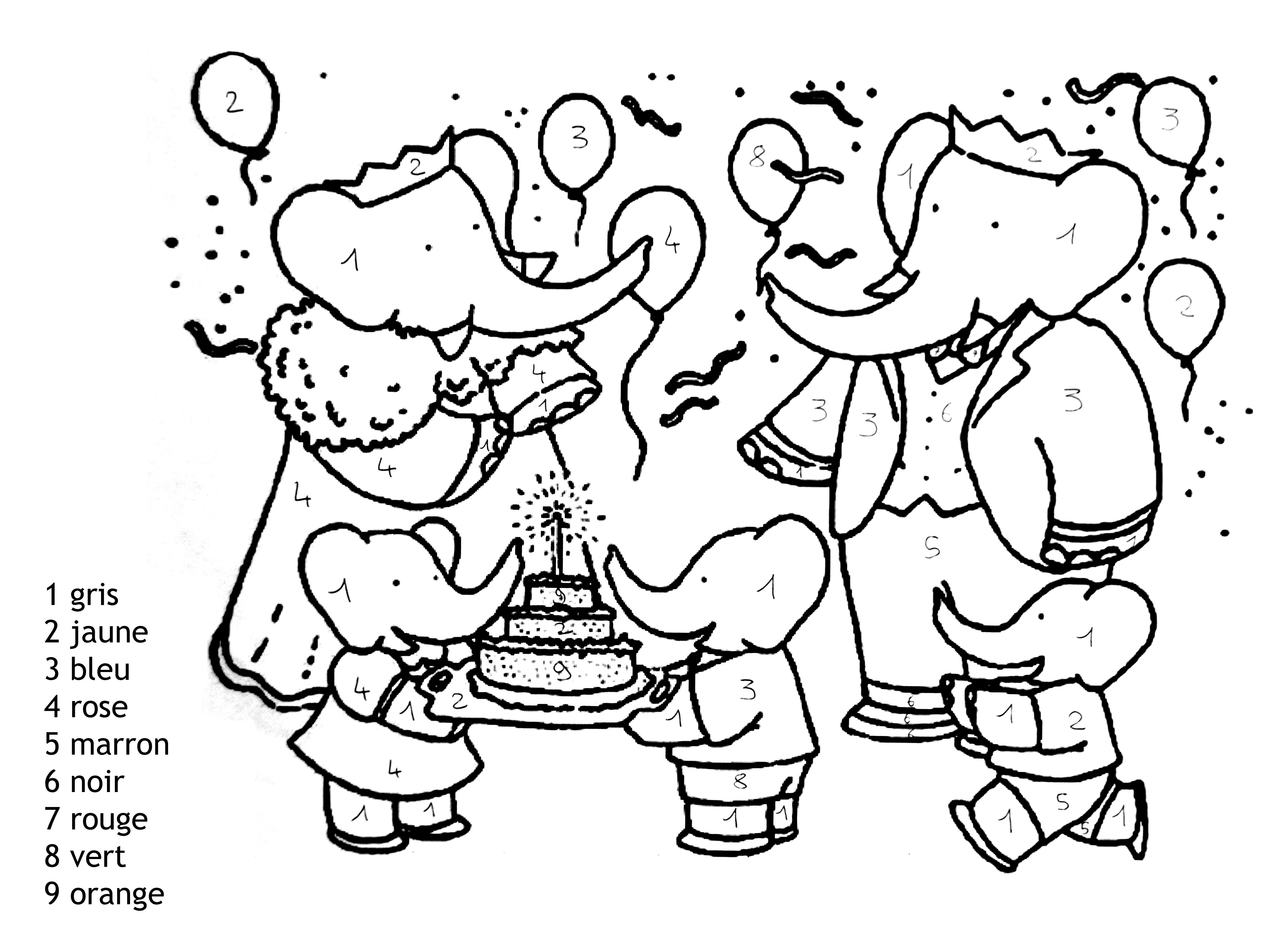 Magique Babar Facile - Coloriage Magique - Coloriages Pour concernant Coloriage Enfants
