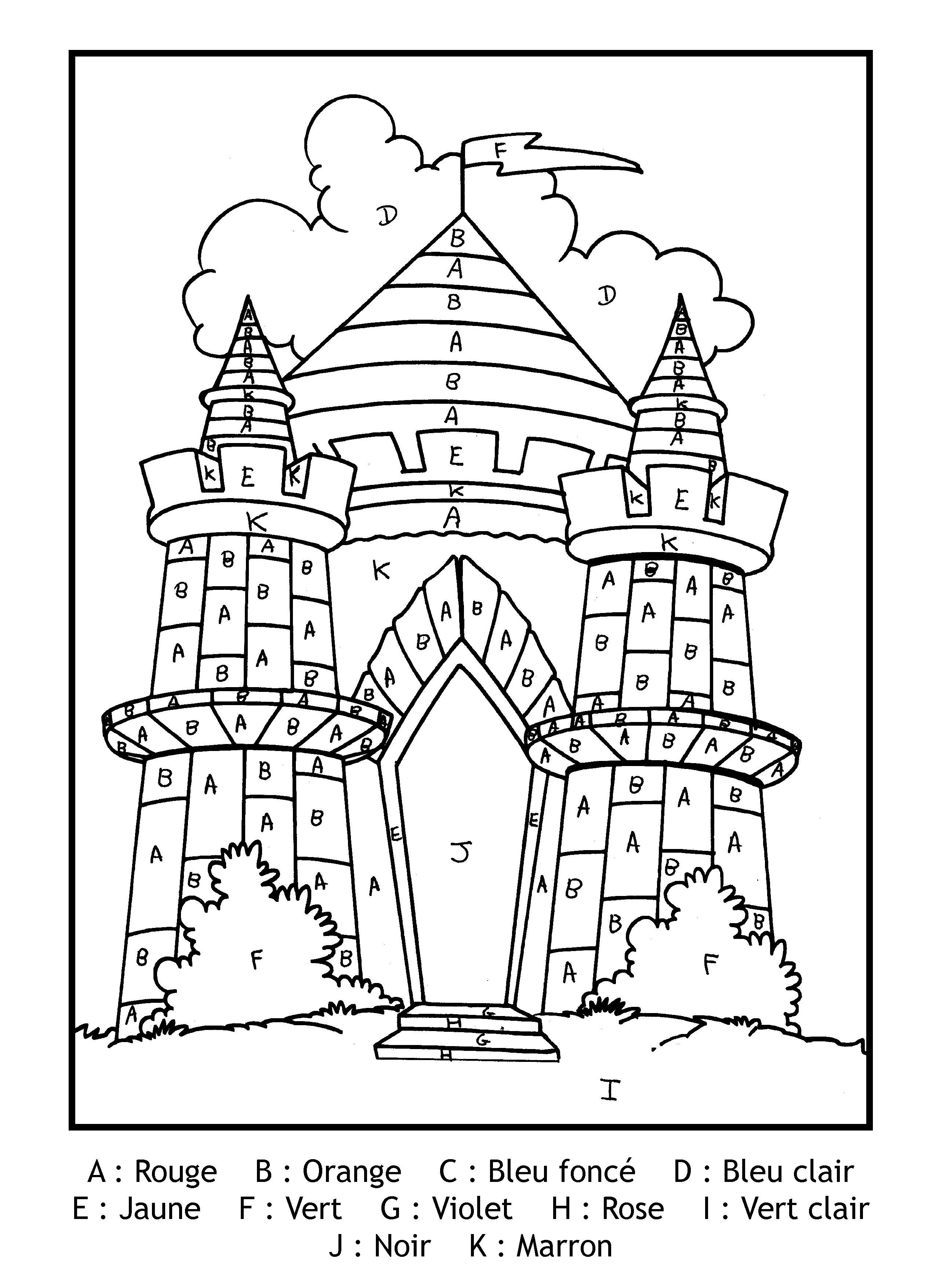 Magique Gratuit Lettres Chateau - Coloriage Magique pour Livre Coloriage Magique