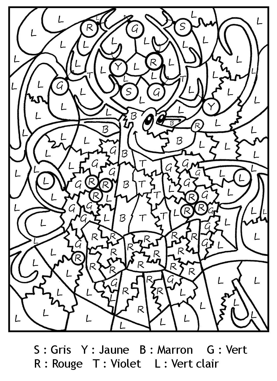 Magique Gratuit Lettres Renne Noel - Coloriage Magique à Jeux Coloriage Magique
