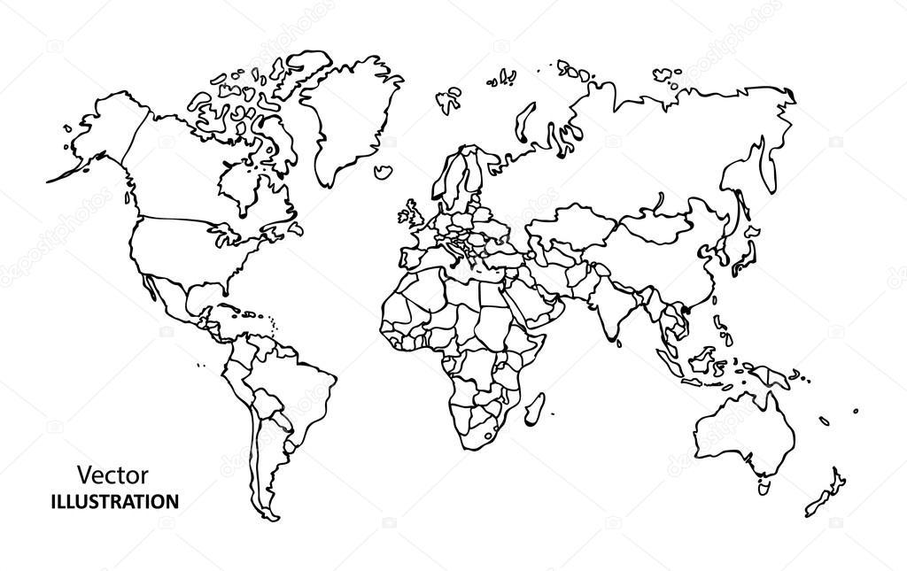 Main, Dessin Mappemonde Avec Les Pays — Image Vectorielle à Mappemonde ? Imprimer