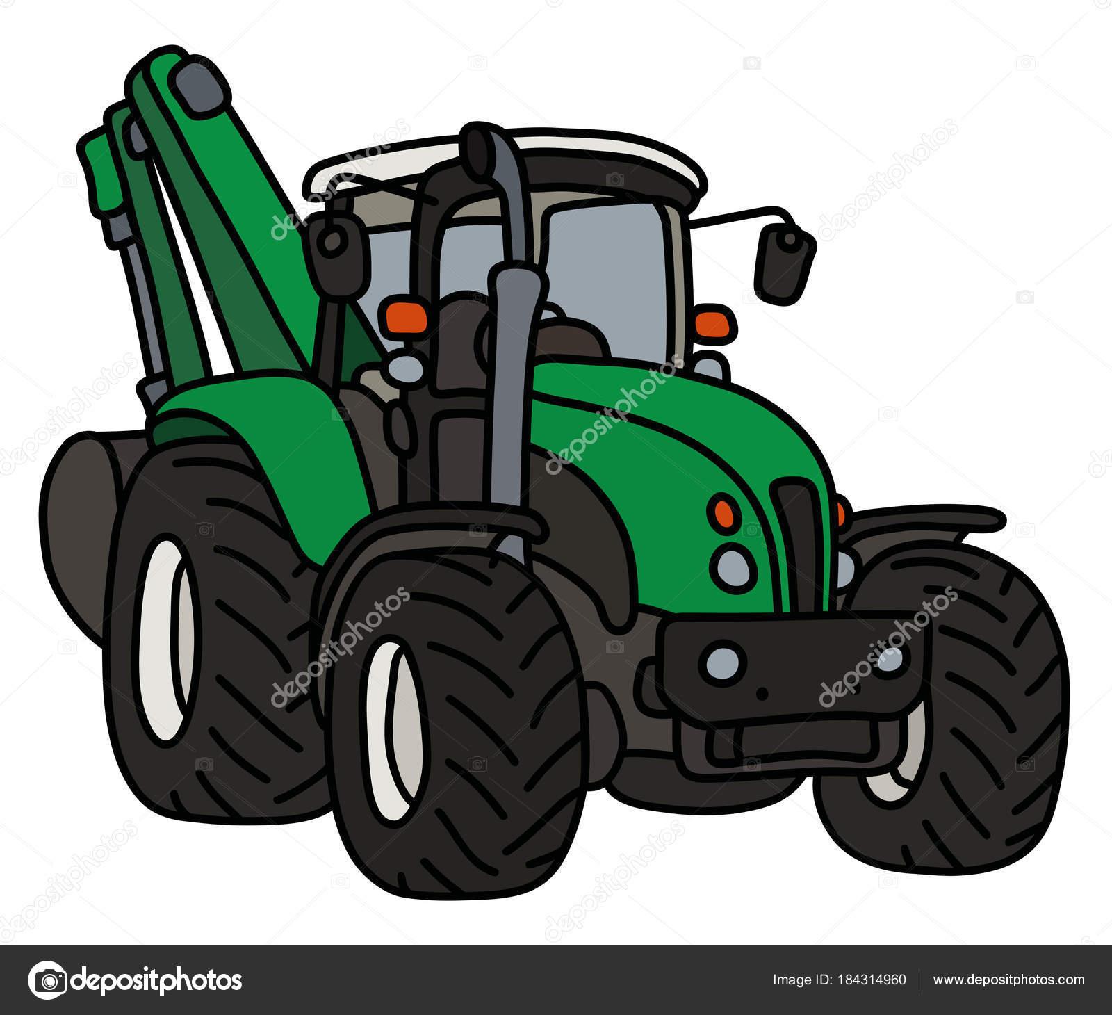 Main Dessin Tracteur Vert Avec Pelle — Image Vectorielle tout Dessin D Un Tracteur