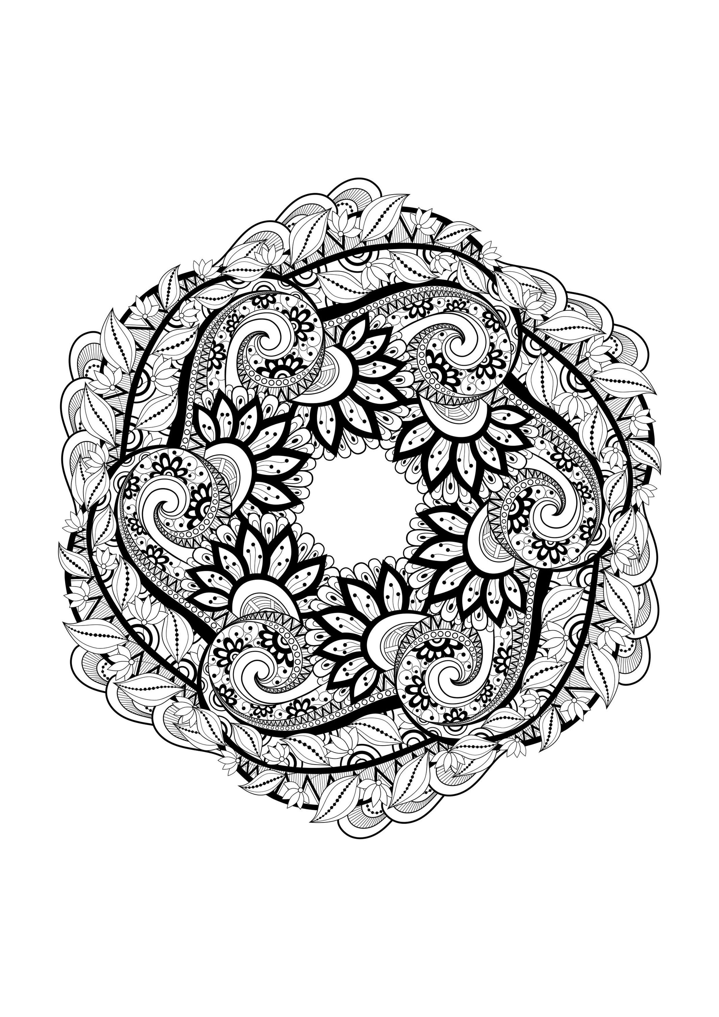 Mandala 1 - Mandalas - Coloriages Difficiles Pour Adultes serapportantà Coloriage Mandala