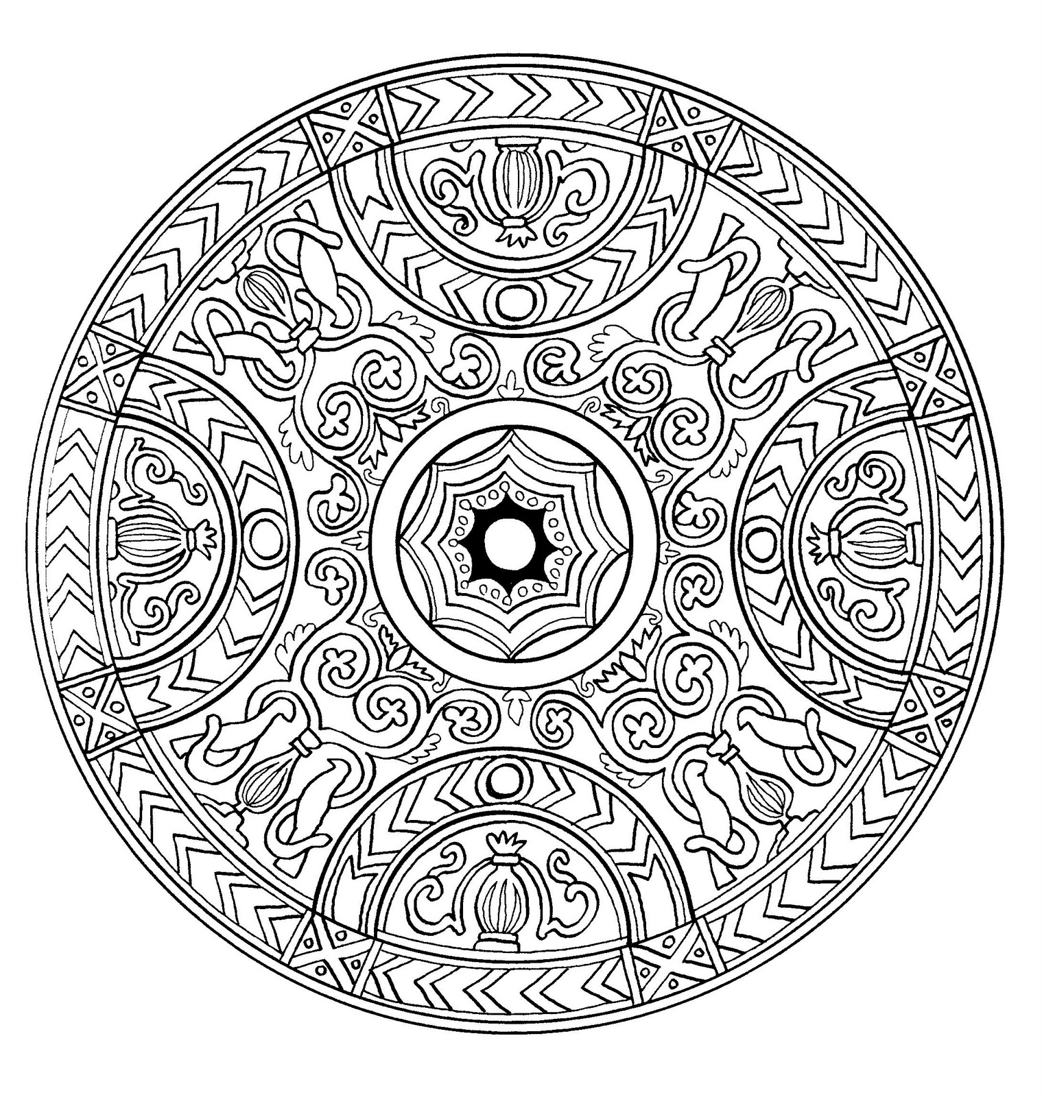 Mandala A Imprimer 1 - Coloriage Mandalas - Coloriages avec Mandala Pour Petit