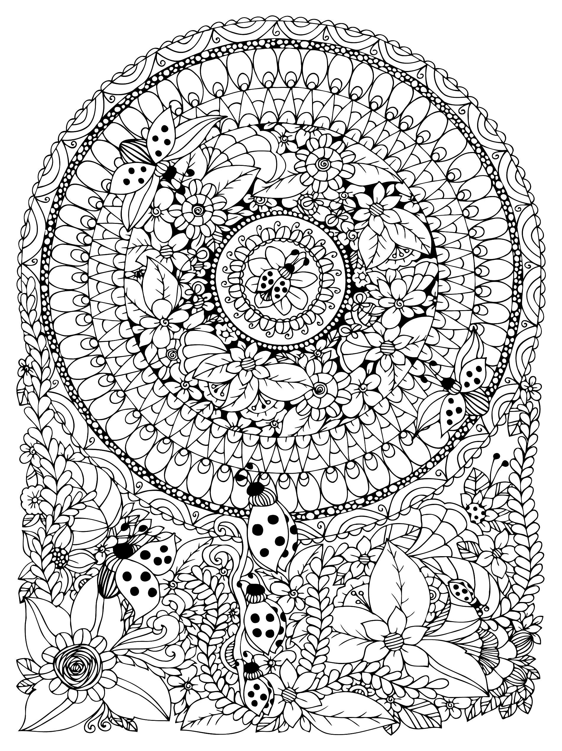 Mandala Avec Fleurs Et Coccinelles - Mandalas - Coloriages pour Coloriage Adulte Mandala