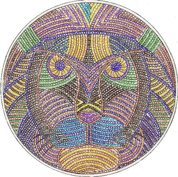 Mandala Colorié : Mandala Lion - Pointillisme Par Cédric concernant Mandala Colorié