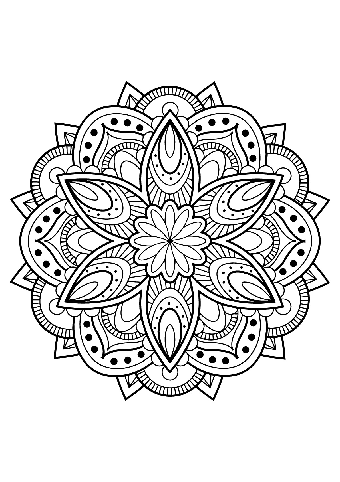 Mandala Complexe Livre Gratuit 16 - Coloriage Mandalas avec Coloriage Mandala