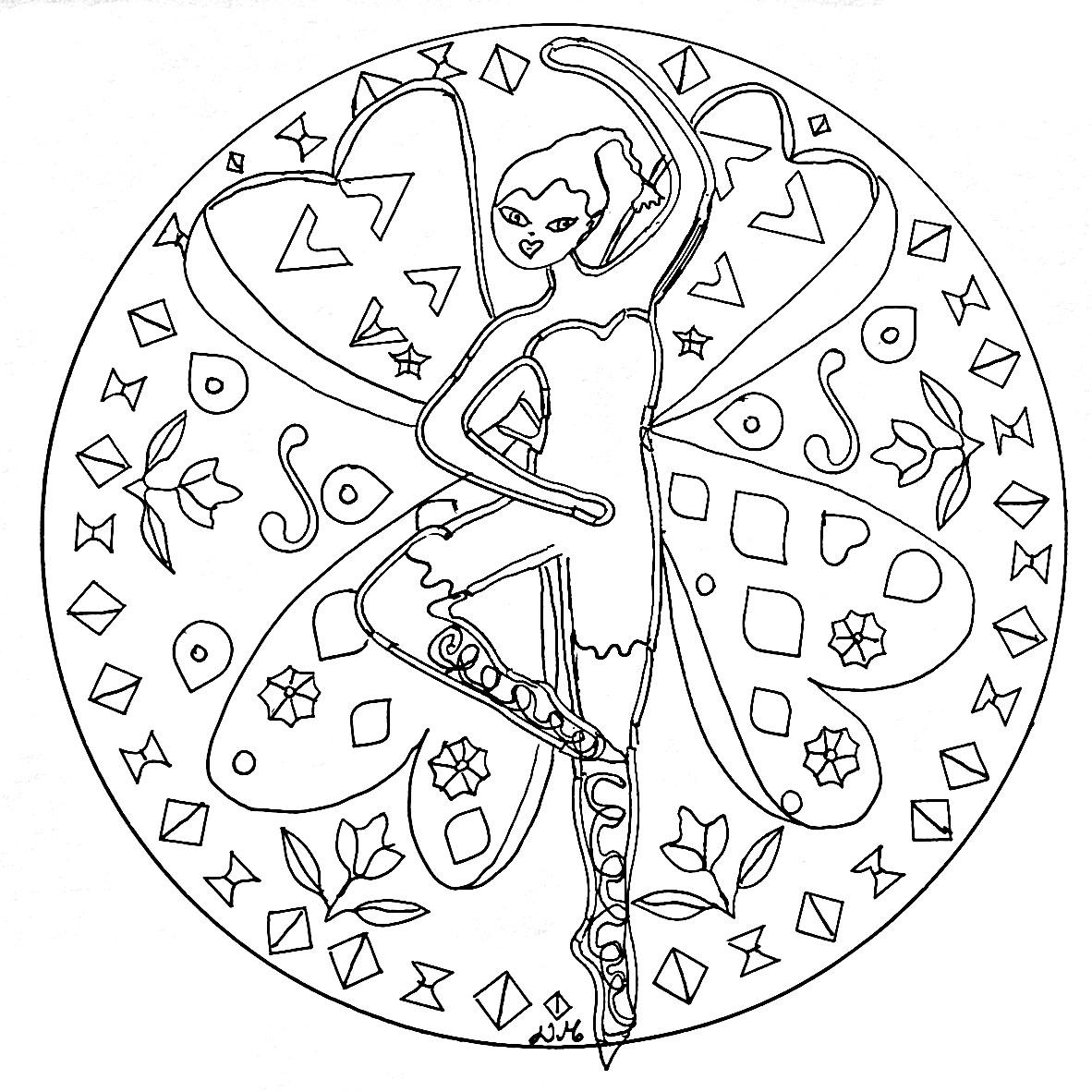 Mandala Dancing Fairy - M&Alas Adult Coloring Pages dedans Mandala Coloriage