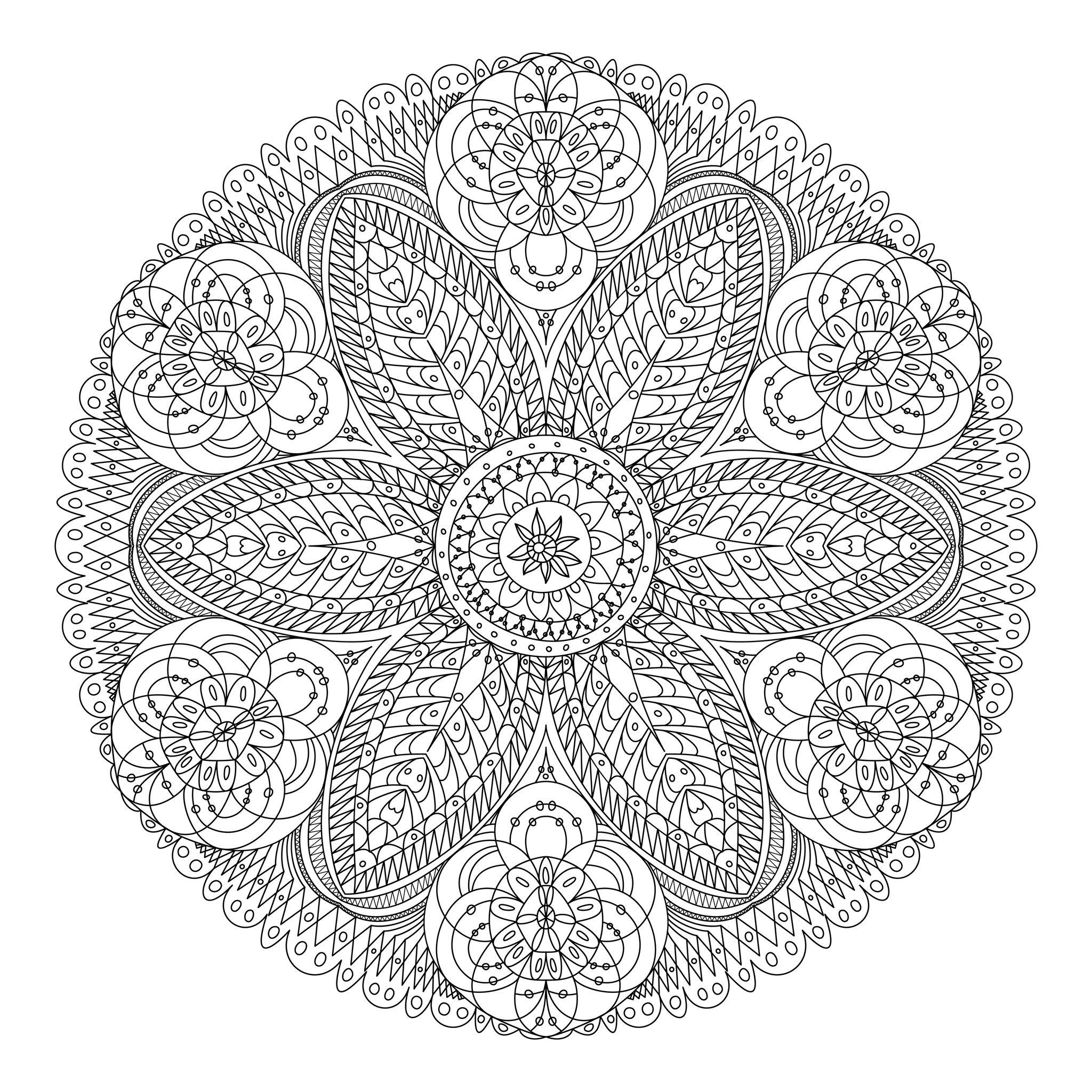 Mandala Dentelle Fleurs tout Coloriage De Mandala Difficile A Imprimer