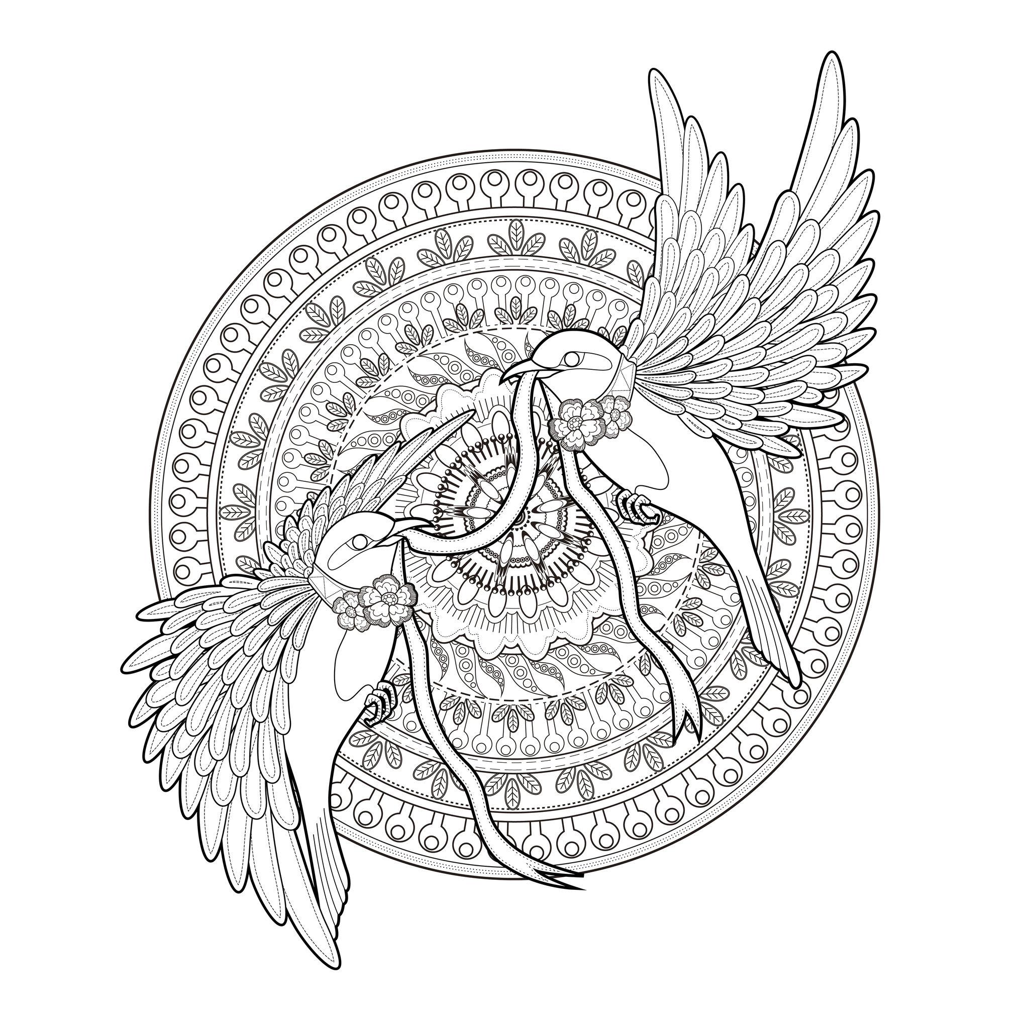 Mandala Deux Hirondelles Et Un Ruban - Mandalas à Coloriage Coloriage