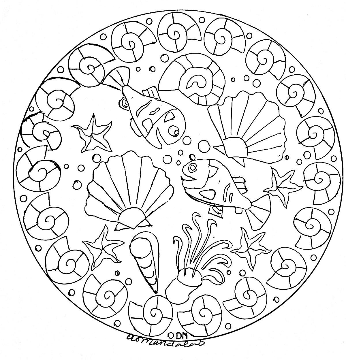 Mandala Domandalas Seabed 2 - M&Alas Adult Coloring Pages avec Coloriage Animaux De La Mer A Imprimer