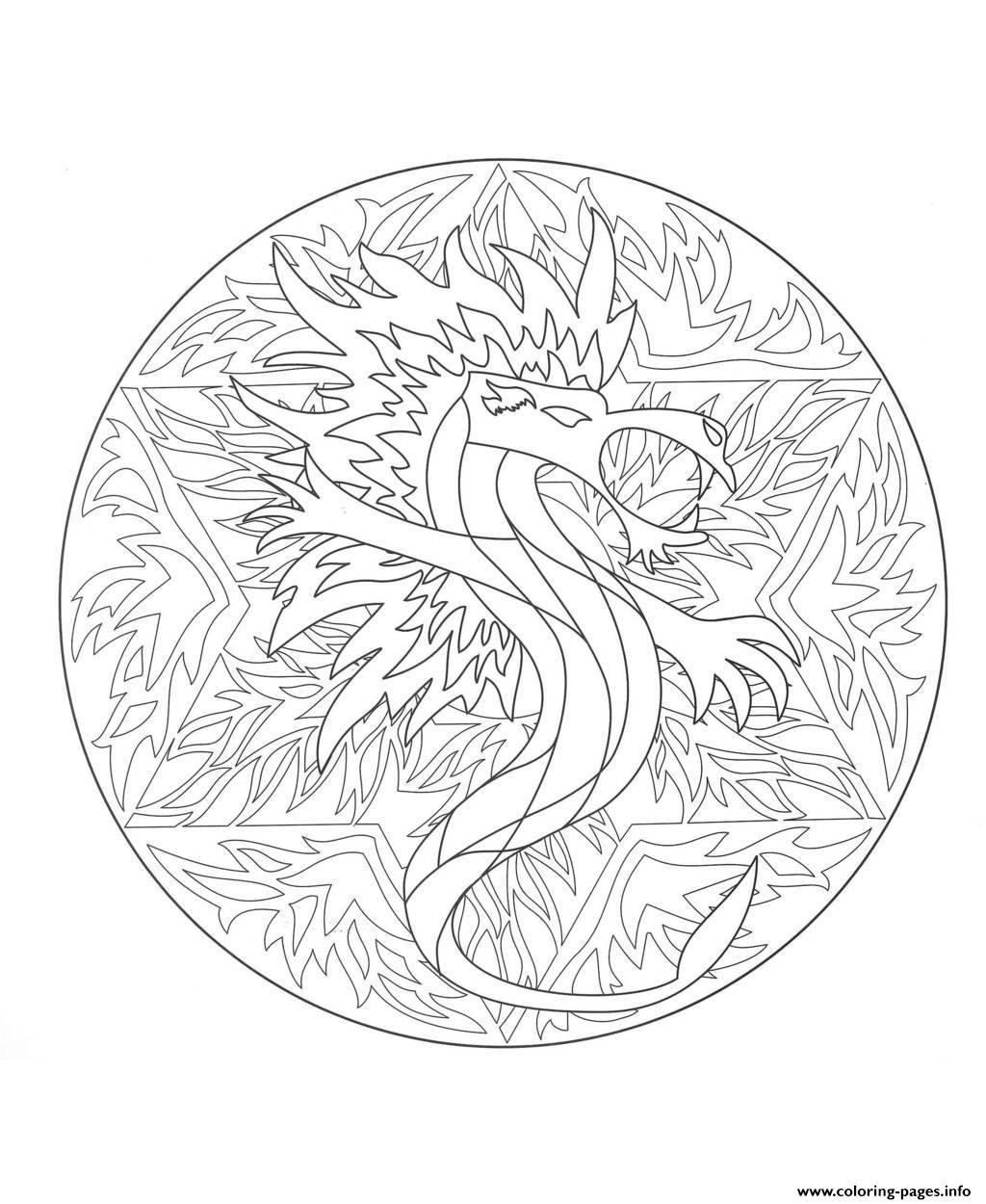 Mandala Dragon 5 Coloring Pages Printable encequiconcerne Coloriage Difficile Dragon