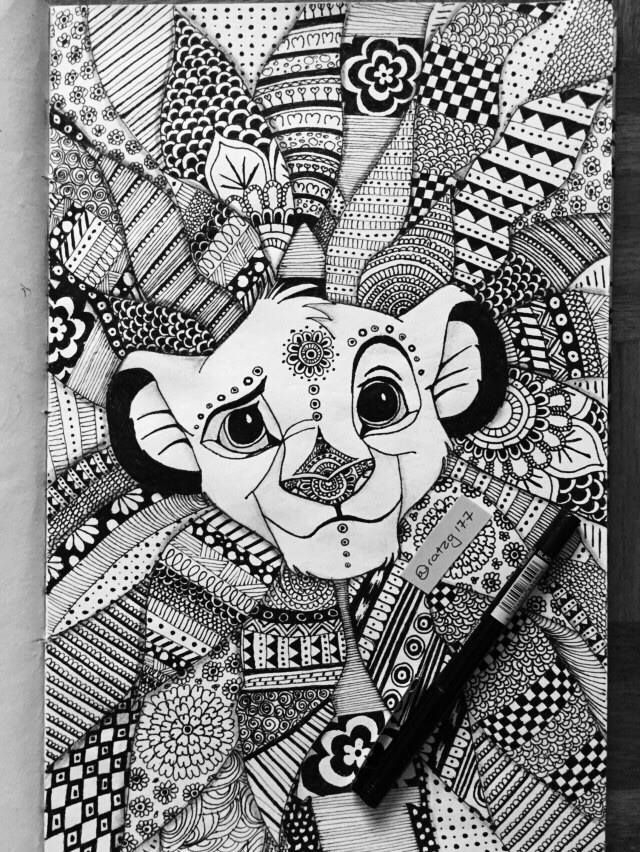 "Mandala Drawing Of Simba, To Make Him Look Like A King ""Oh I Just Can'T Wait To Be King"" (When intérieur Coloriage Mandala Disney À Imprimer Gratuit"