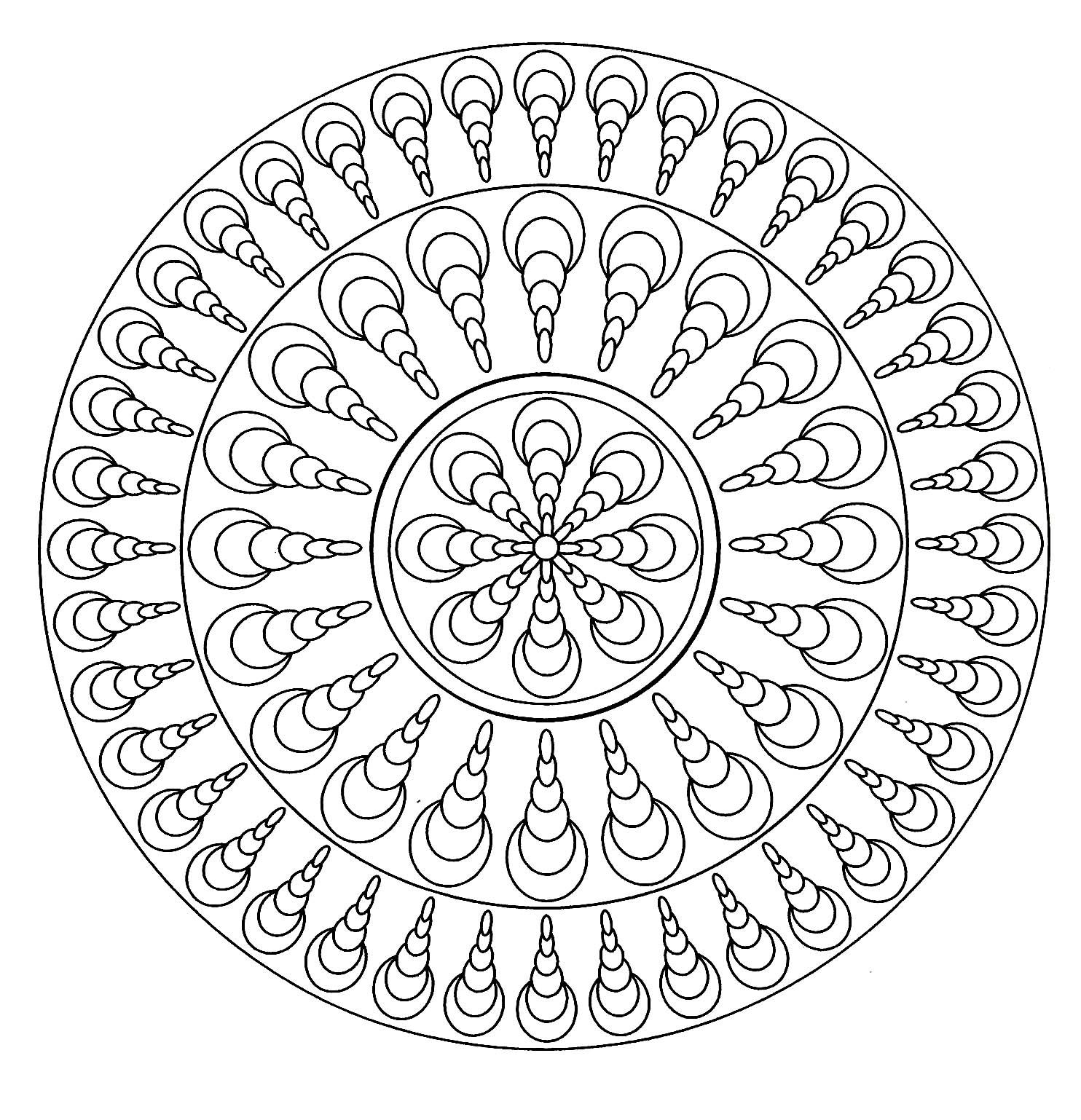 Mandala Facile 4 - Mandalas - Coloriages Difficiles Pour serapportantà Coloriage Mandale