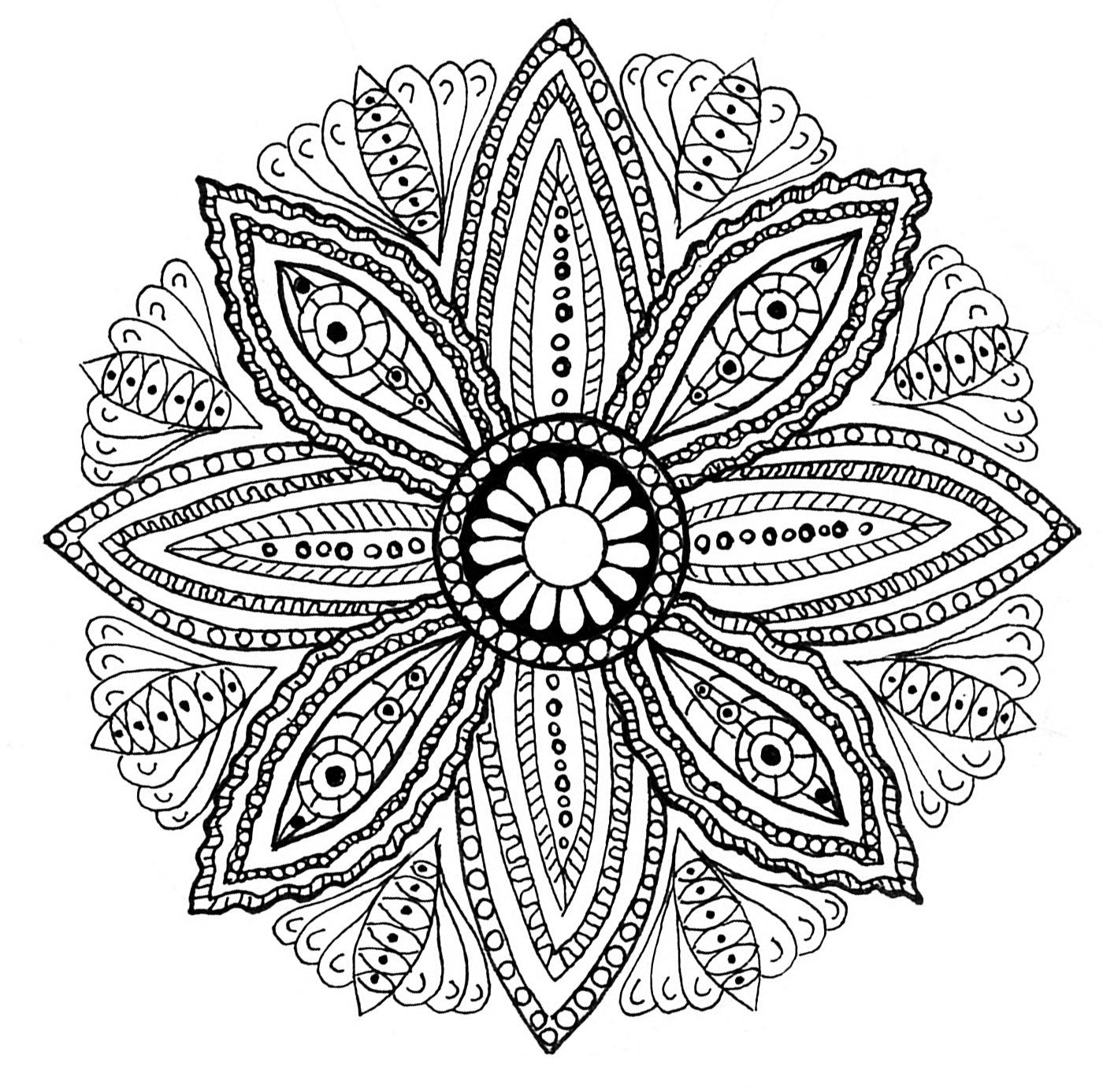 Mandala Feuilles - Mandalas - Coloriages Difficiles Pour destiné Coloriage De Mandala Difficile A Imprimer