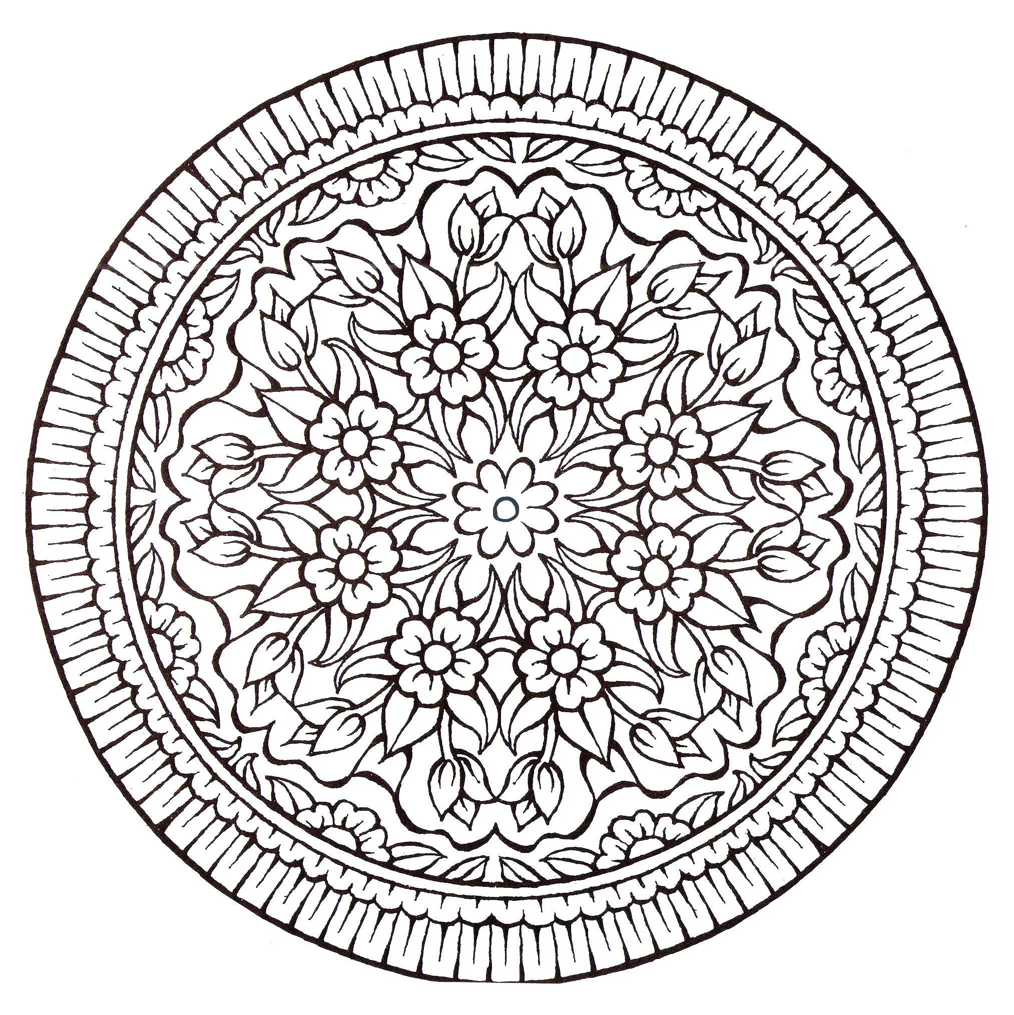 Mandala Fleurs Vintage - Coloriage Mandalas - Coloriages intérieur Coloriage Mandale