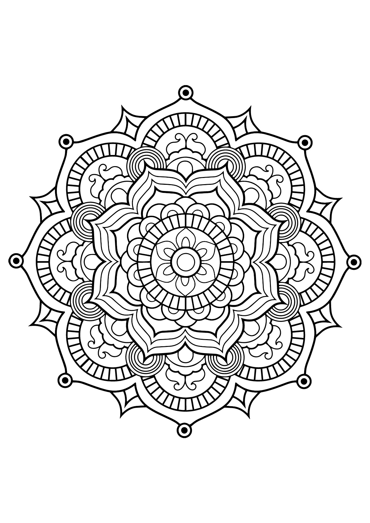 Mandala From Free Coloring Books For Adults 8 - M&Alas à 100 Greatest Mandala Coloring Book: