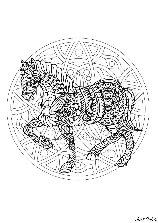 Mandala Gratuit Cheval - Coloriage Mandalas - Coloriages intérieur Coloriage Rosace À Imprimer Gratuit