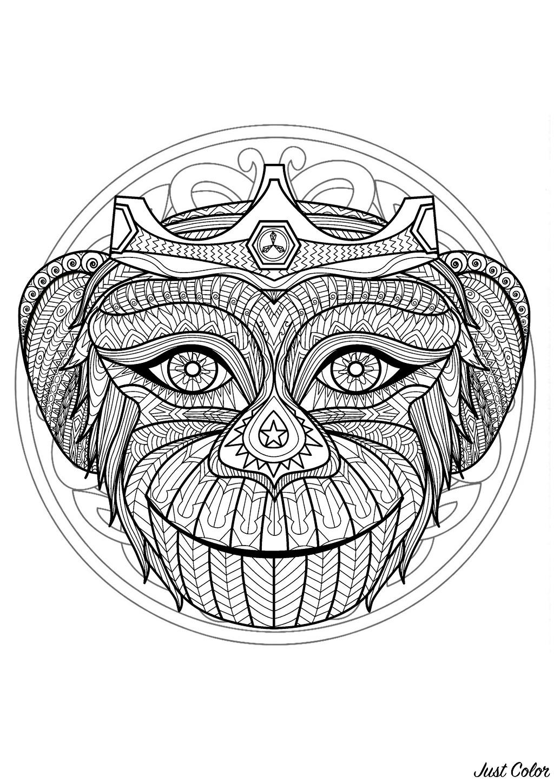Mandala Gratuit Tete Singe - Coloriage Mandalas intérieur Site De Coloriage Gratuit