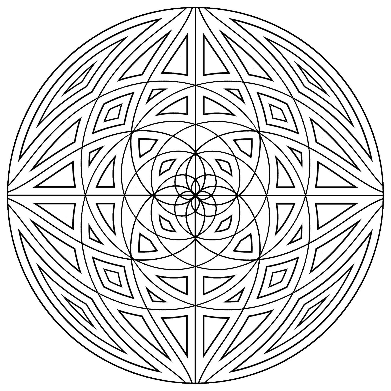 Mandala Lignes Concentriques - Mandalas - Coloriages tout Coloriage Mandale