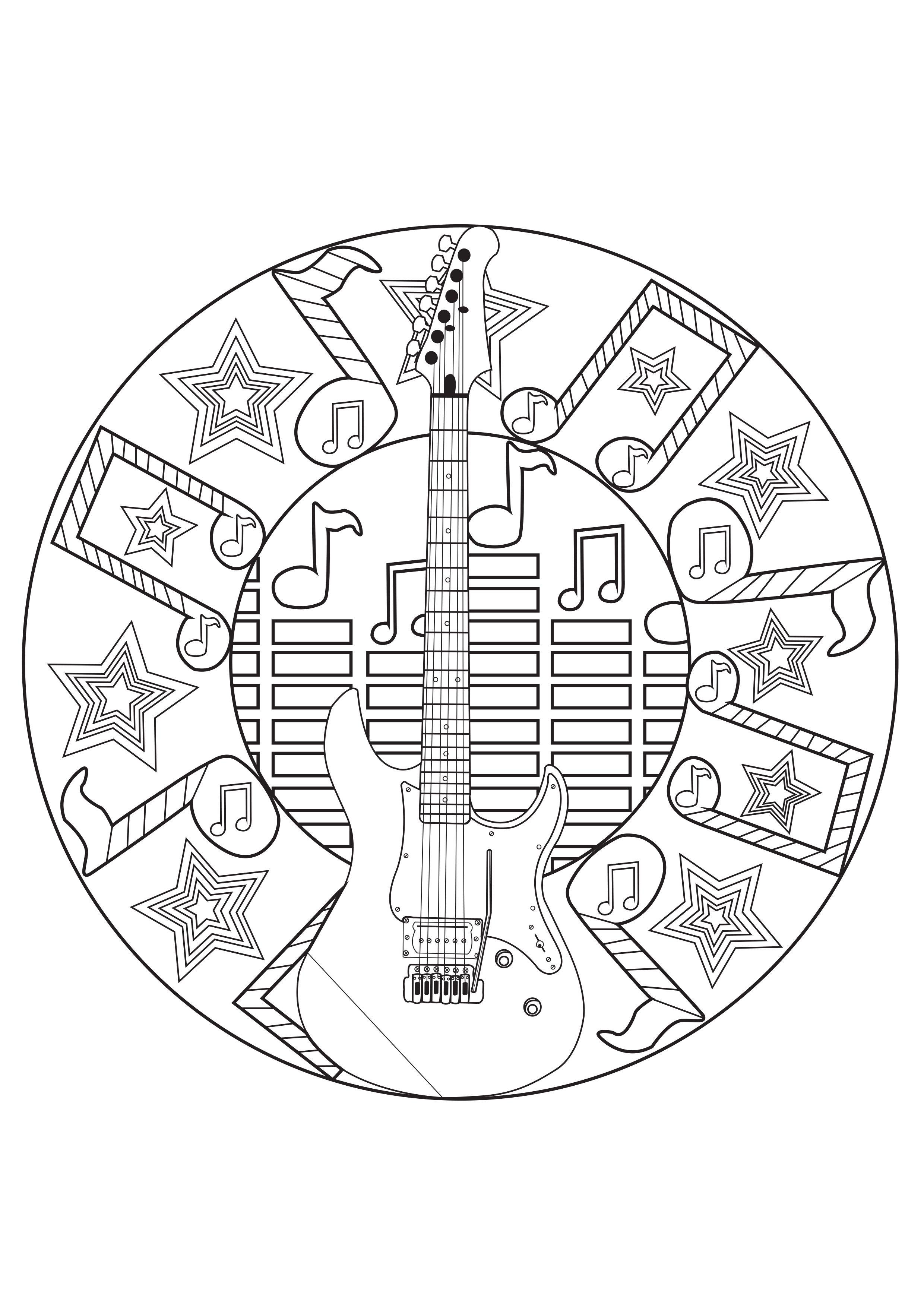 Mandala Musique - Coloriages Mandalas - Just Color - Page avec Coloriage Instrument De Musique