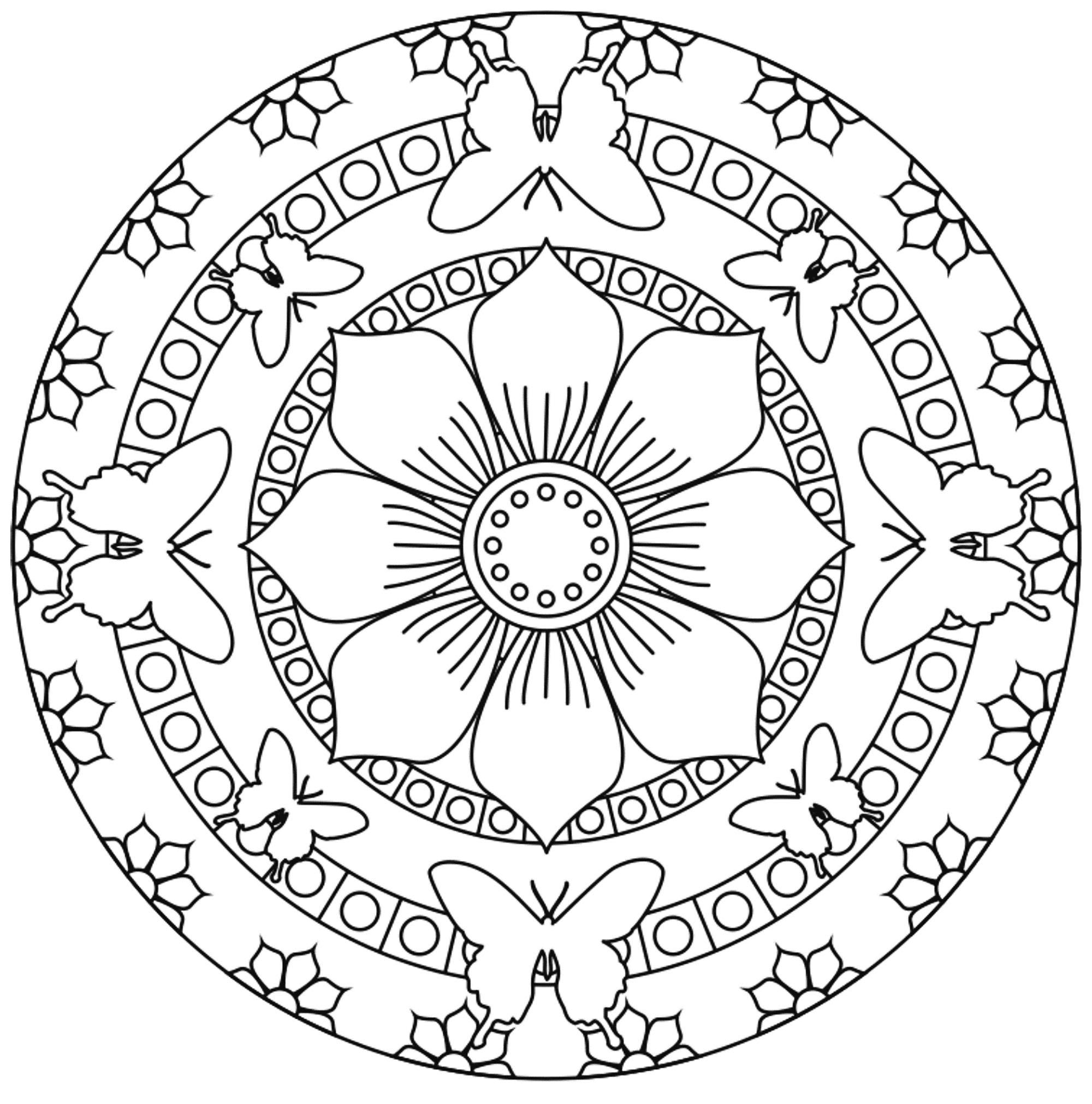 Mandala Papillons Et Fleurs - Coloriage Mandalas dedans Mandala Pour Petit