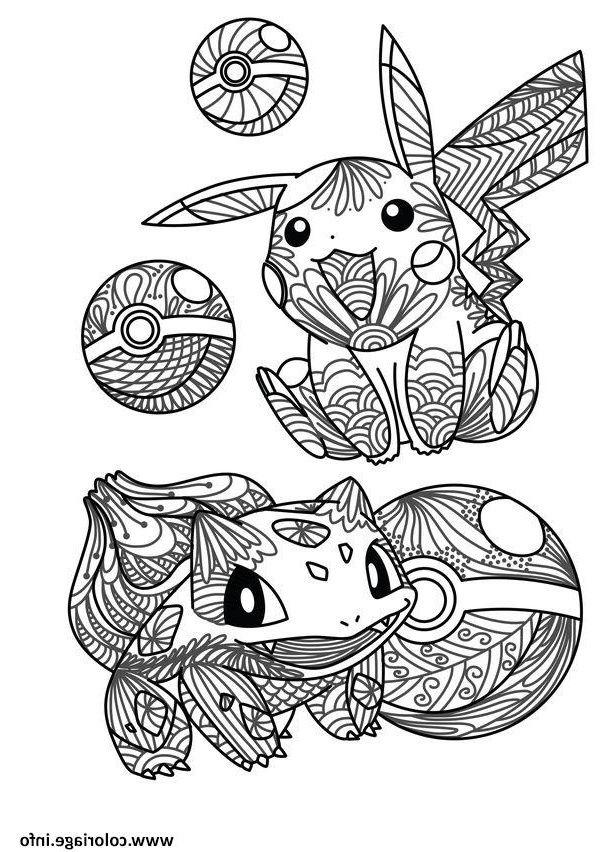 Mandala Pokemon Pikachu Bulbizarre Bulbasaur Pokeball tout Mandala À Colorier En Ligne