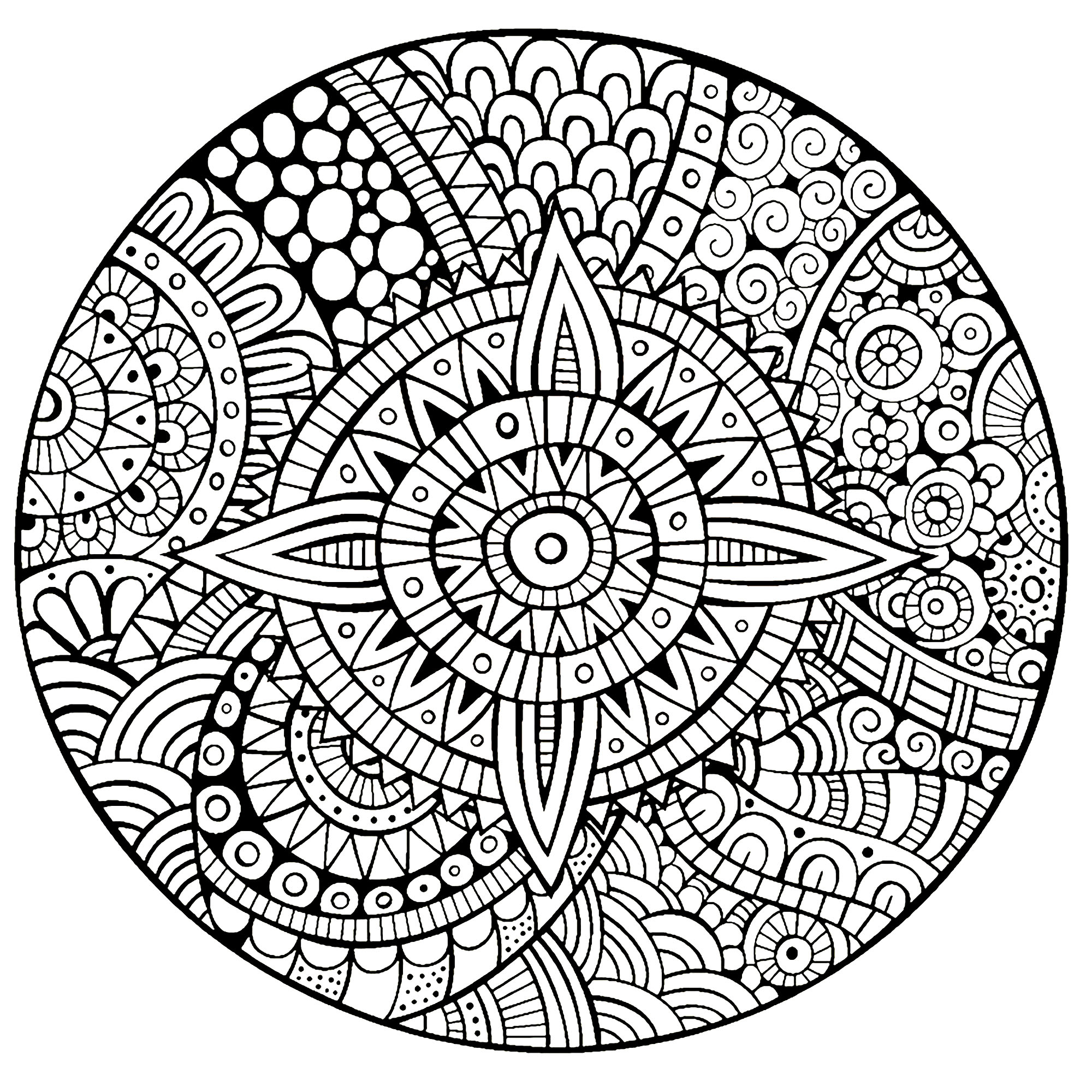 Mandala Star Thick Lines - M&Alas Adult Coloring Pages dedans Coloriage