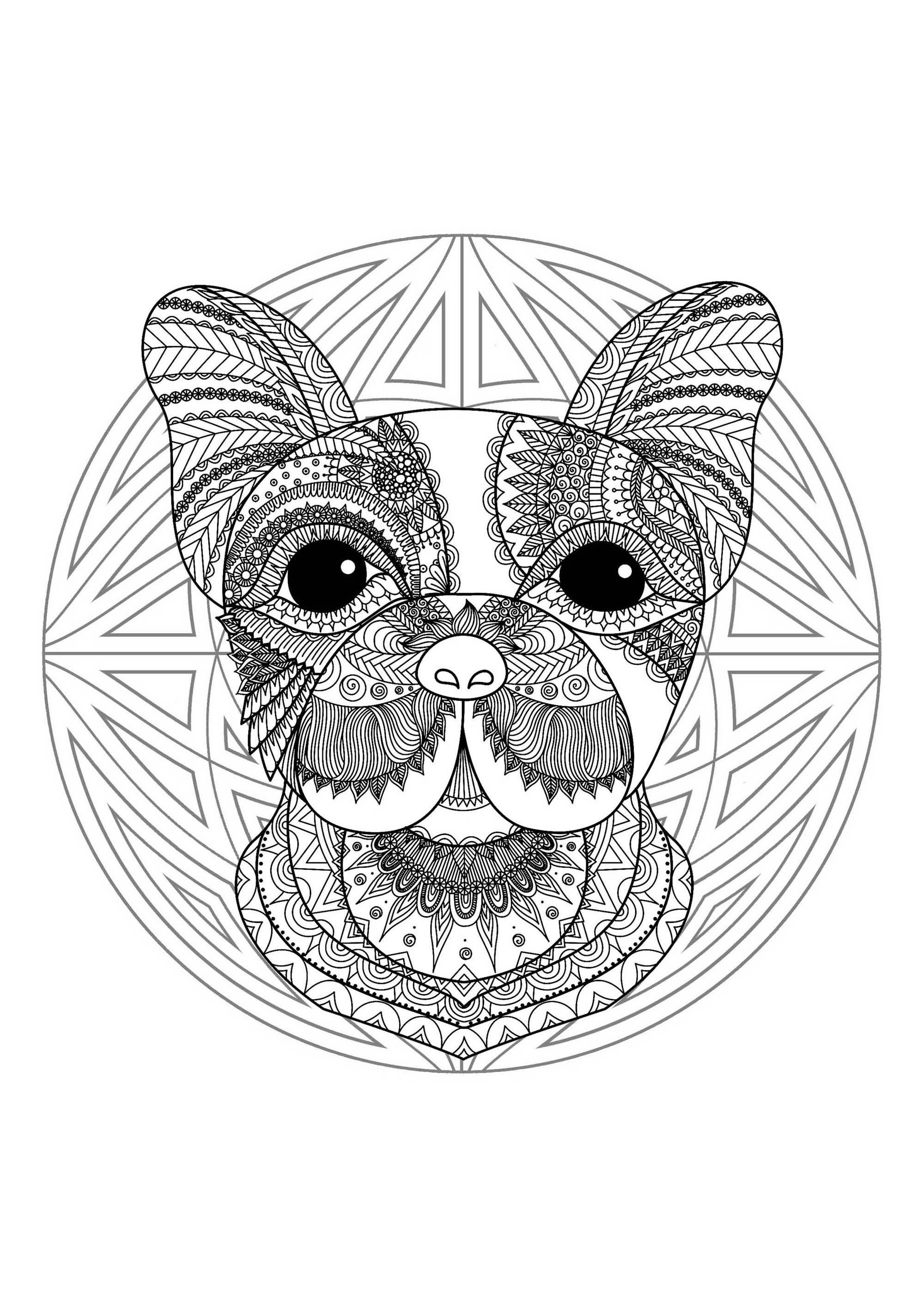 Mandala Tete Chien 2 - Mandalas - Coloriages Difficiles encequiconcerne Dessin De Tete De Chien