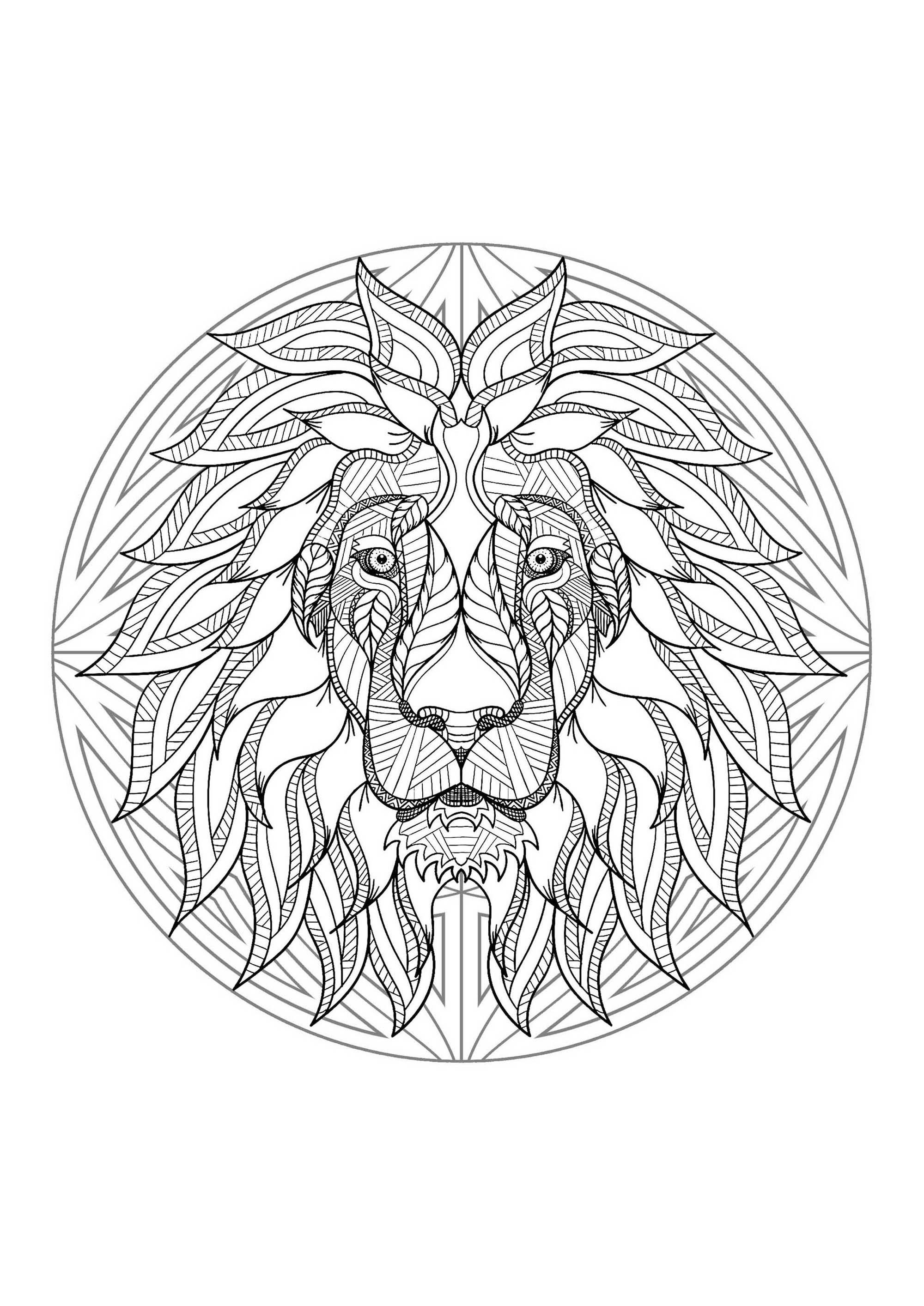 Mandala Tete Lion 4 - Mandalas - Coloriages Difficiles à Coloriage Mandala A Imprimer