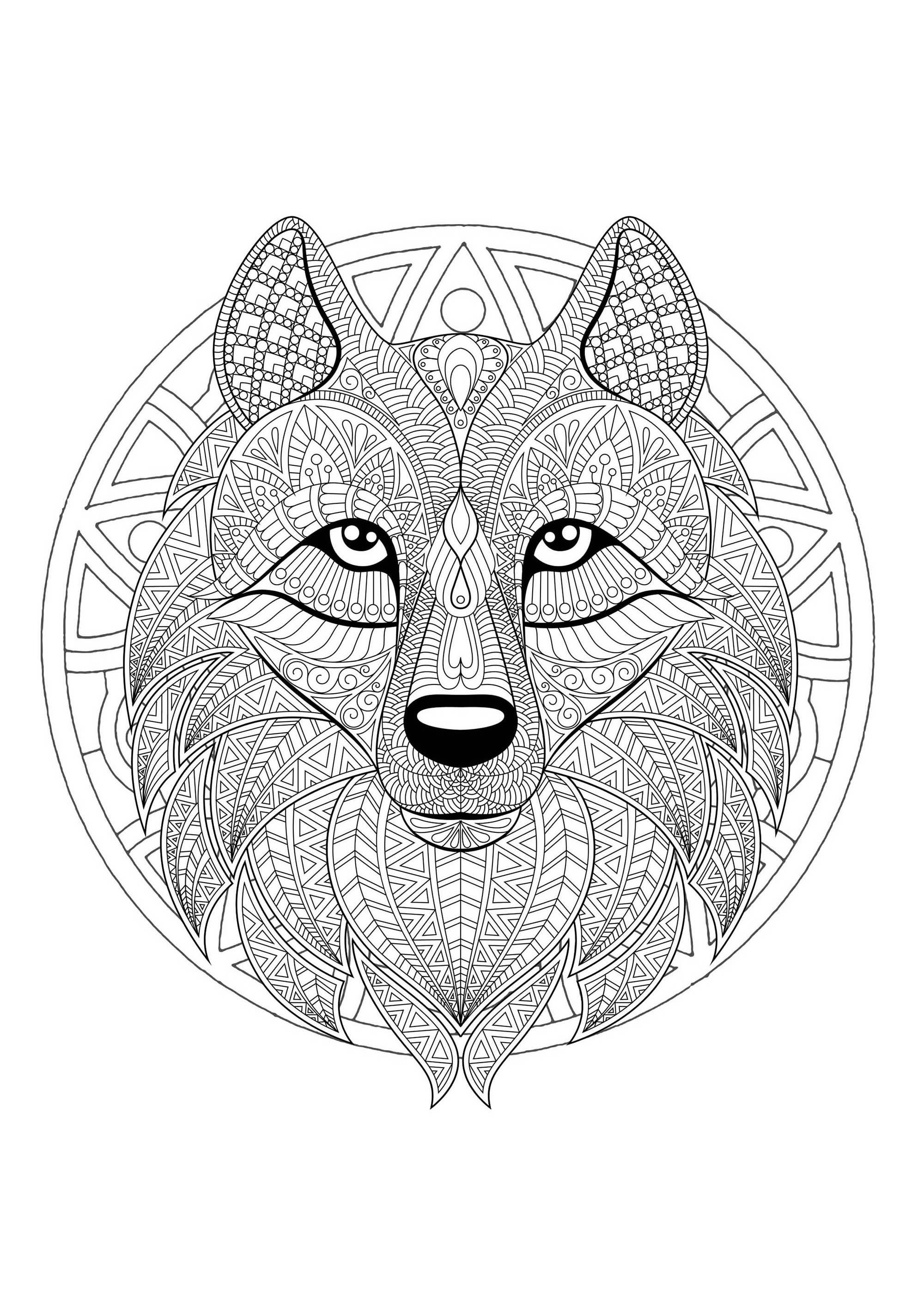 Mandala Tete Loup 2 - Mandalas - Coloriages Difficiles destiné Coloriage