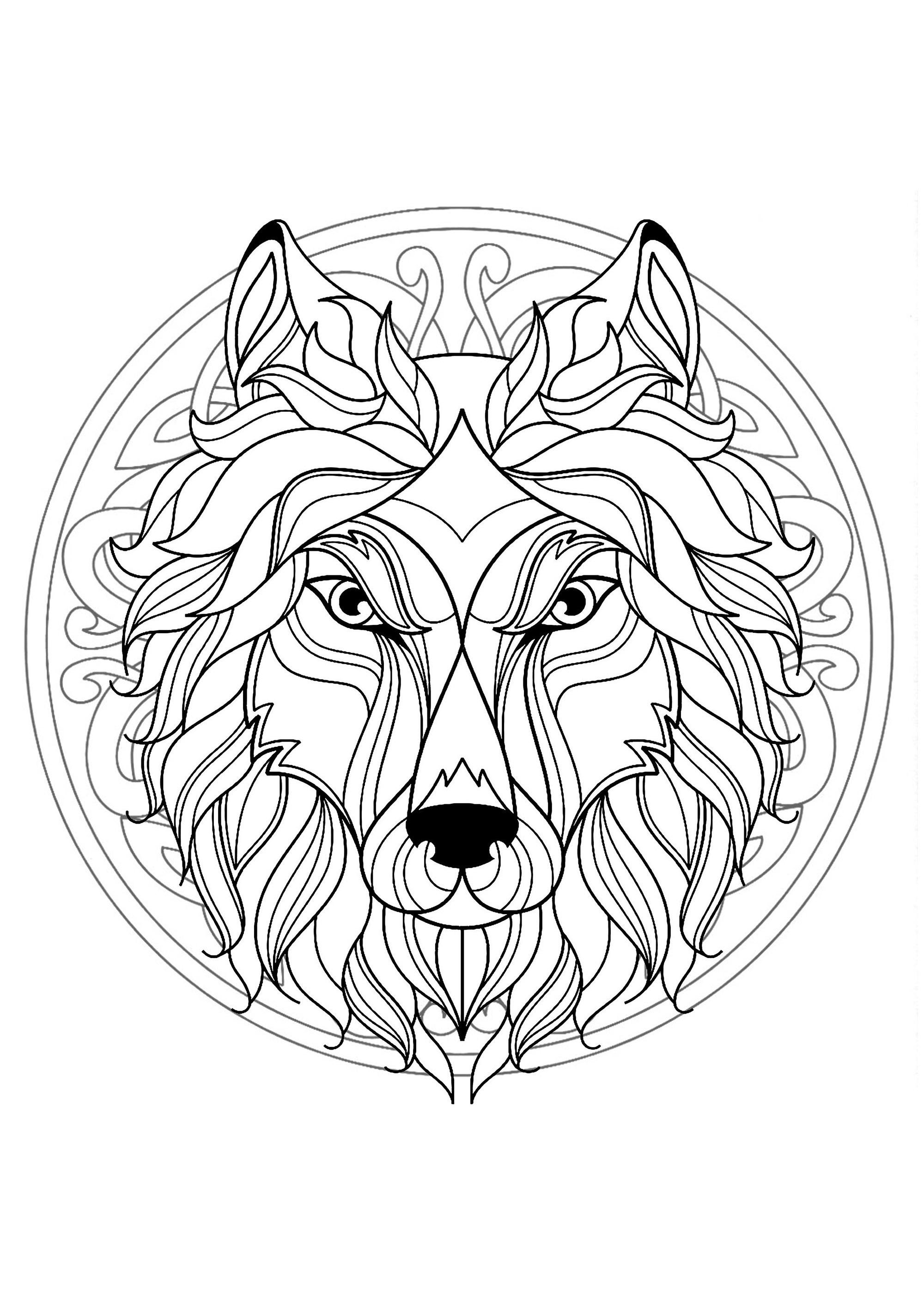 Mandala Tete Loup 4 - Mandalas - Coloriages Difficiles encequiconcerne Coloriage Simple À Imprimer