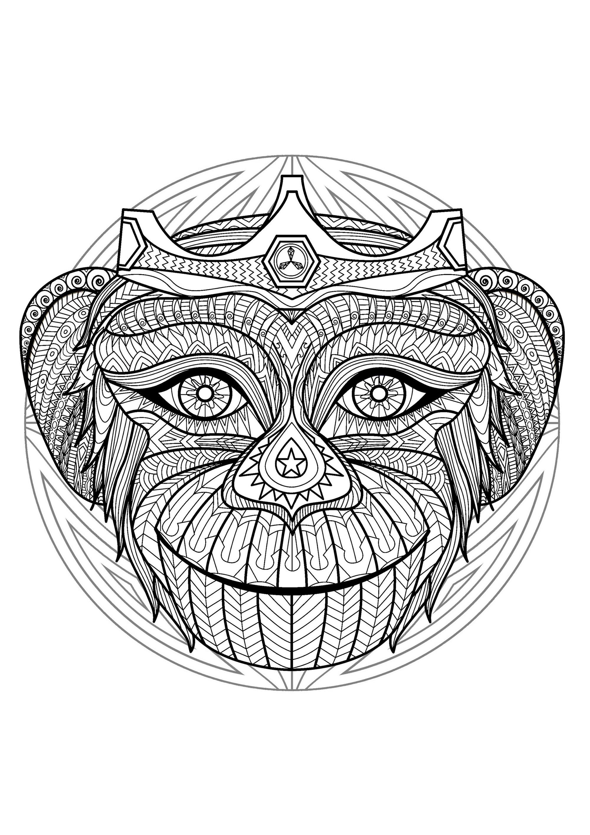 Mandala Tete Singe 2 - Mandalas - Coloriages Difficiles pour Coloriage