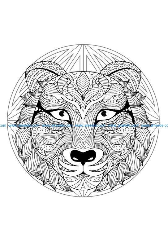 Mandala Tete Tigre 2 – Download Free Vector encequiconcerne Mandalas De Tigres