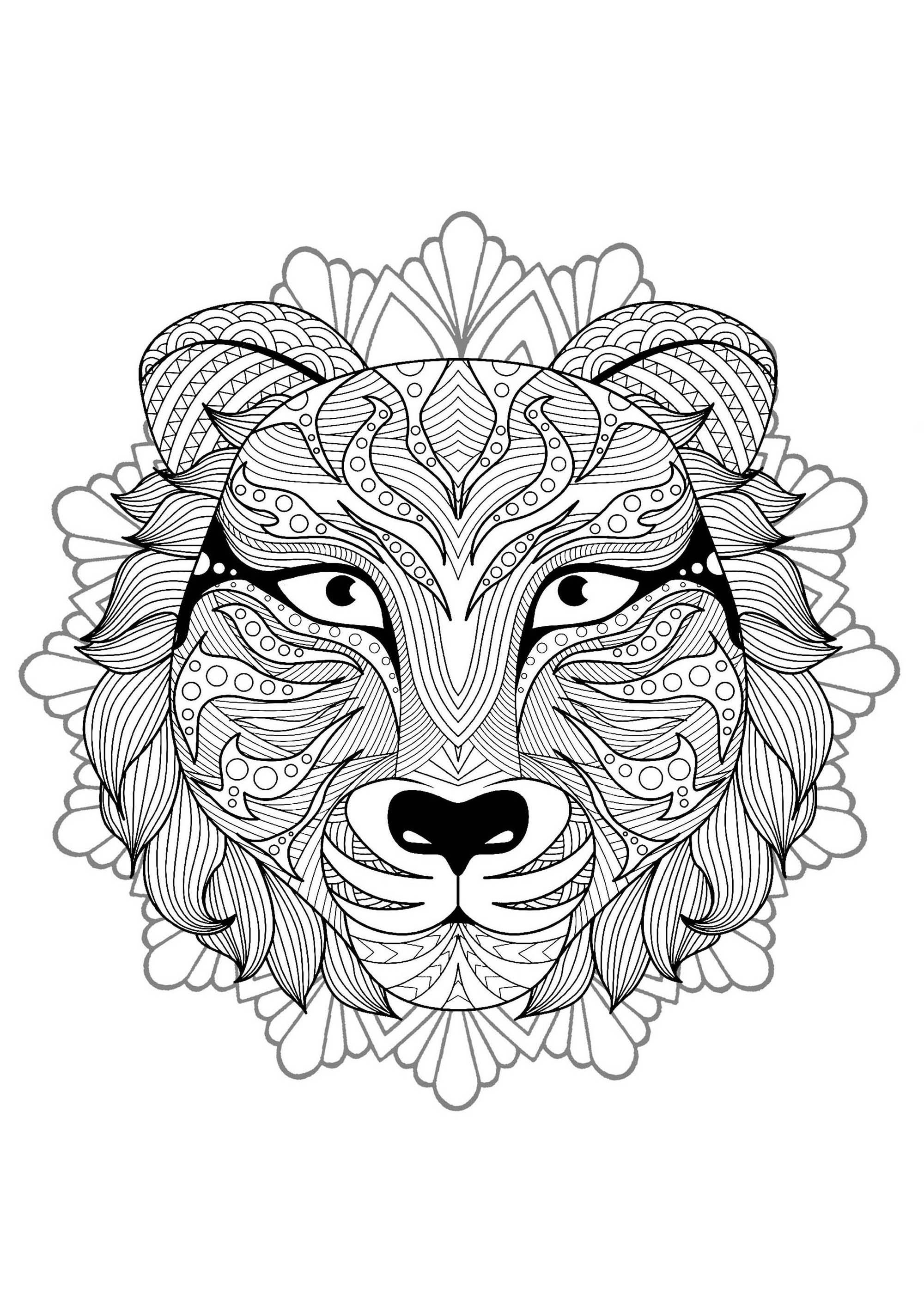 Mandala Tete Tigre 3 - Mandalas - Coloriages Difficiles dedans Coloriage Mandala Adulte A Imprimer