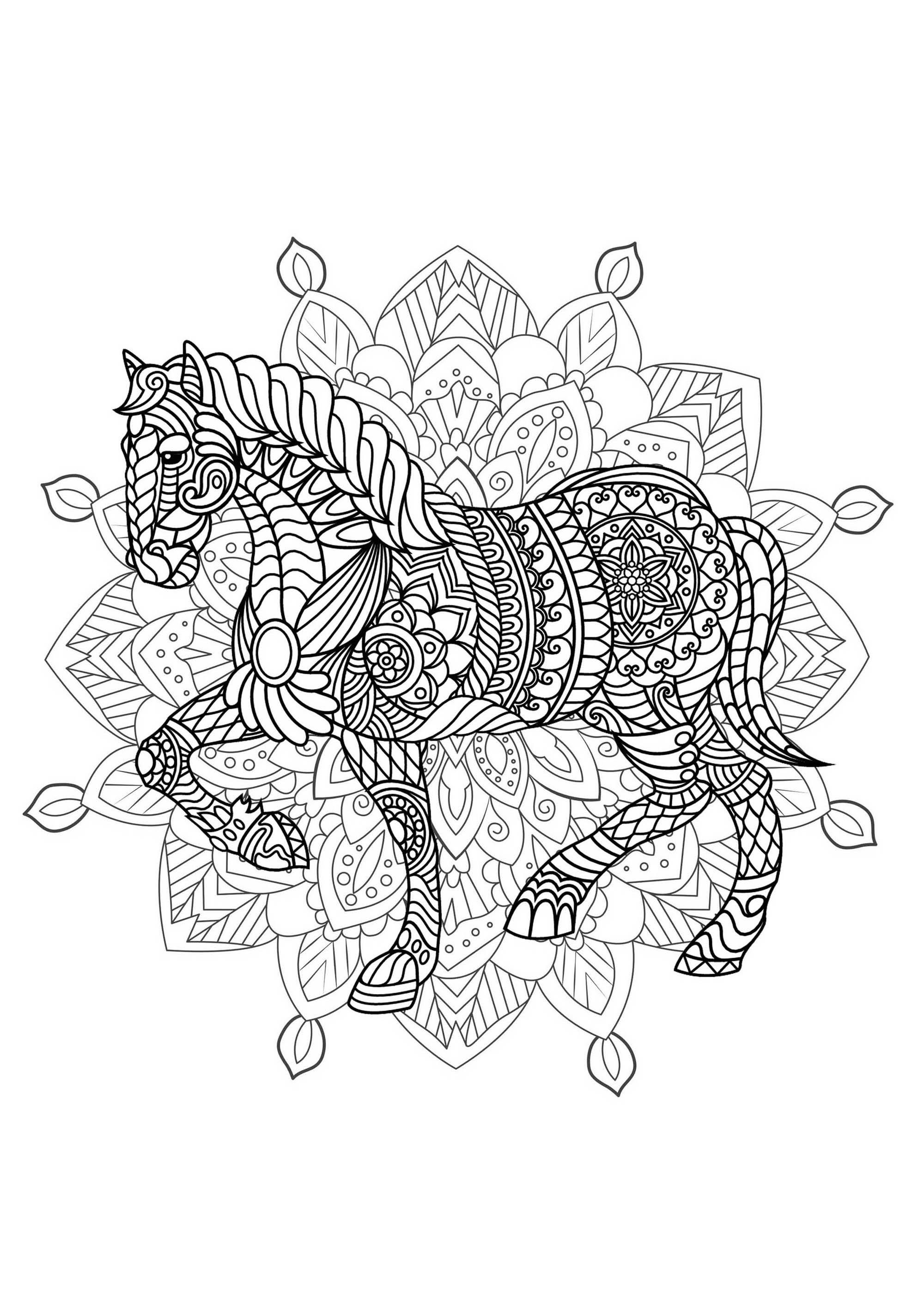 Mandala With Elegant Horse And Complex Patterns - M&Alas avec Coloriage De Mandala Difficile A Imprimer