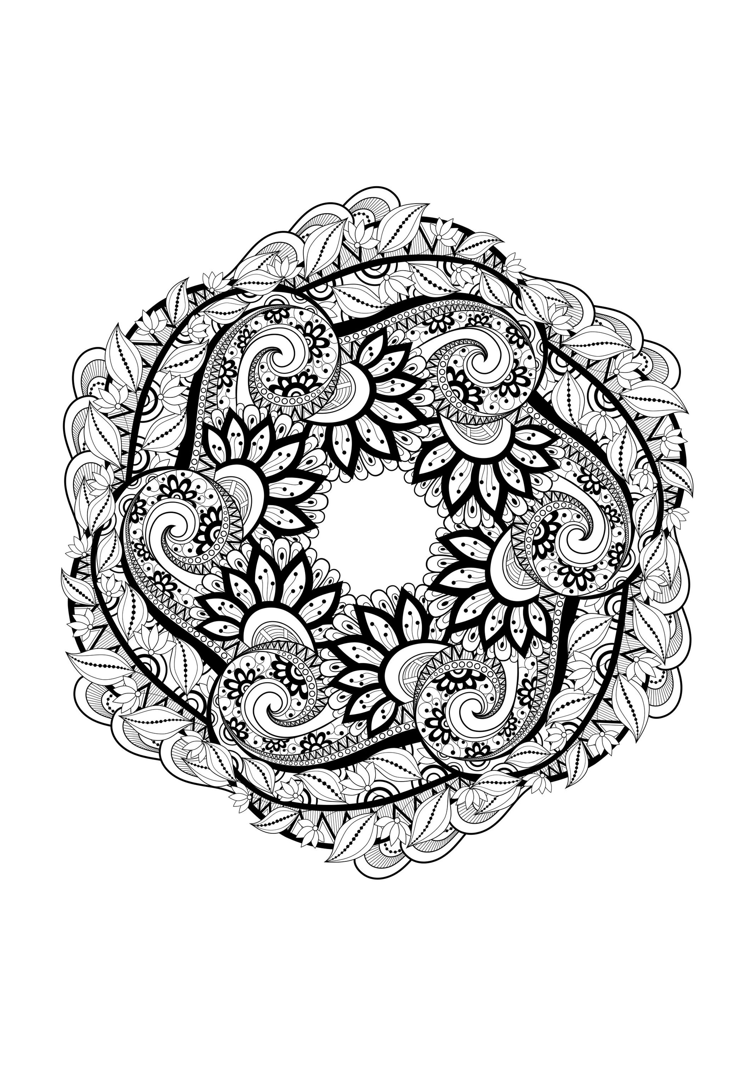 Mandala With Flowers And Leaves Full Of Details - Very intérieur Mandala A Dessiner