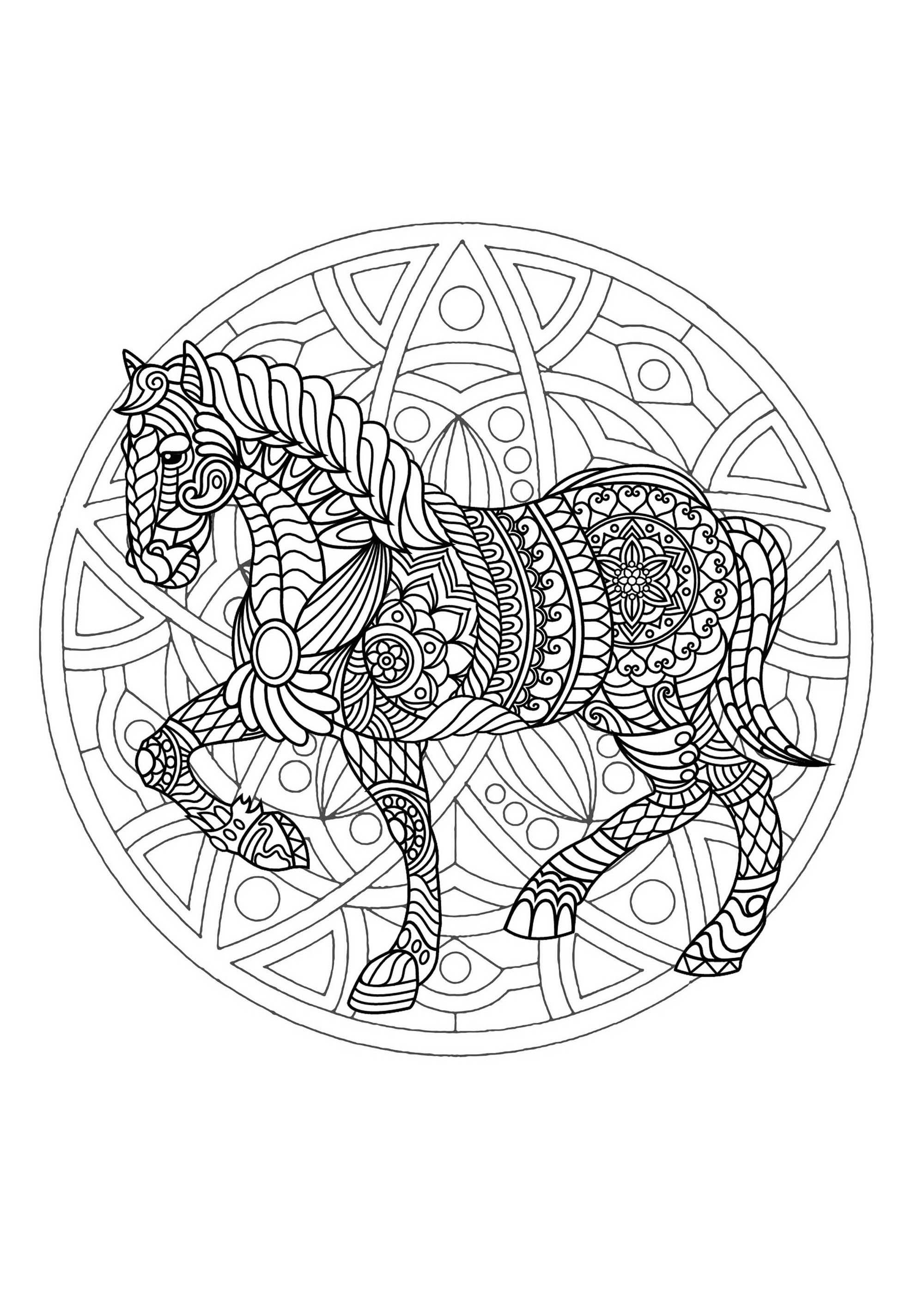 Mandala With Horse And Simple Geometric Patterns - M&Alas intérieur Coloriage À Imprimer Cheval Gratuit