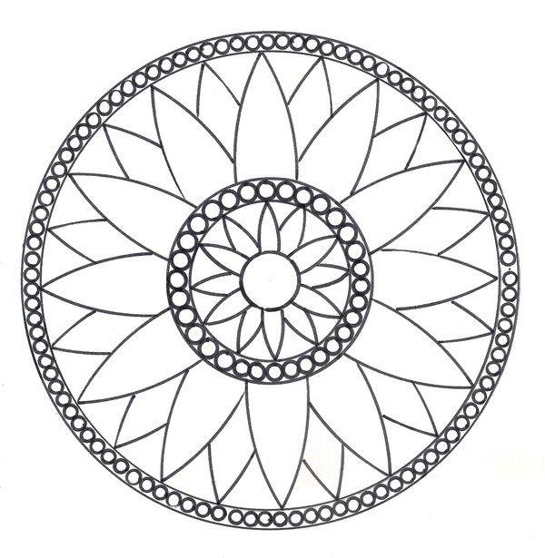 Mandalas - Rosace Modèle N°1   Kártyák, Színek, Kreatív à Dessin Mosaique A Imprimer