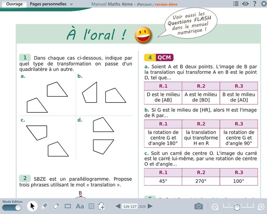 Manuel Numerique Iparcours Maths 4E Pour Vidéoprojection avec Manuel Exercices Iparcours Pdf