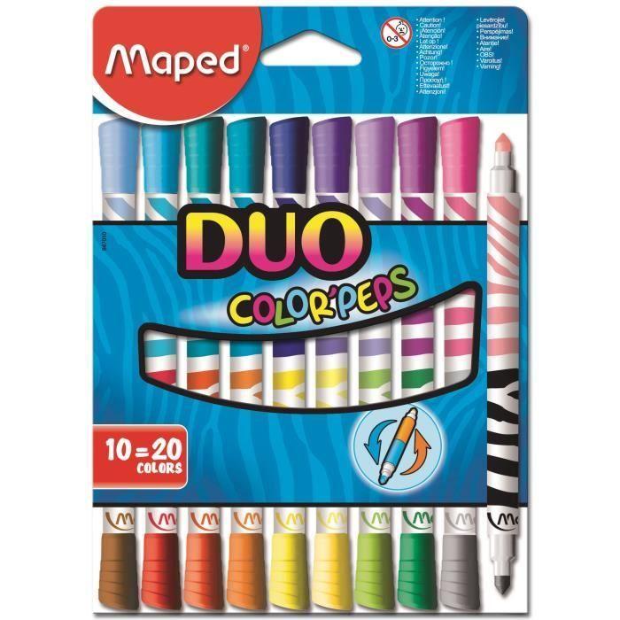 Maped Boîte Carton De 10 Feutres Color'peps Duo | Boite En intérieur Feutres Coloriage Pas Cher