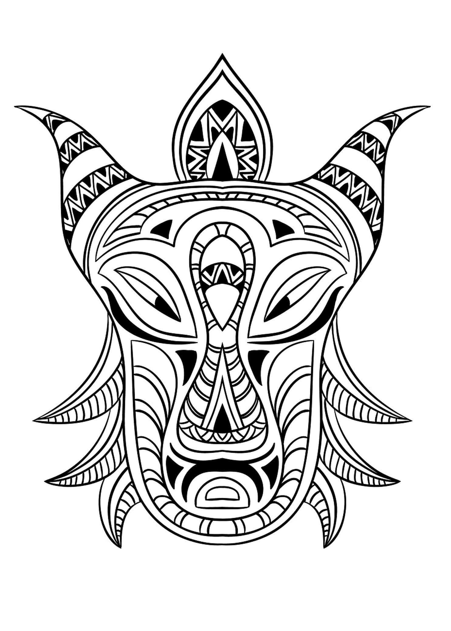 Masque Africain Impressionnant - Coloriage De Masques dedans Masque À Colorier Gratuit
