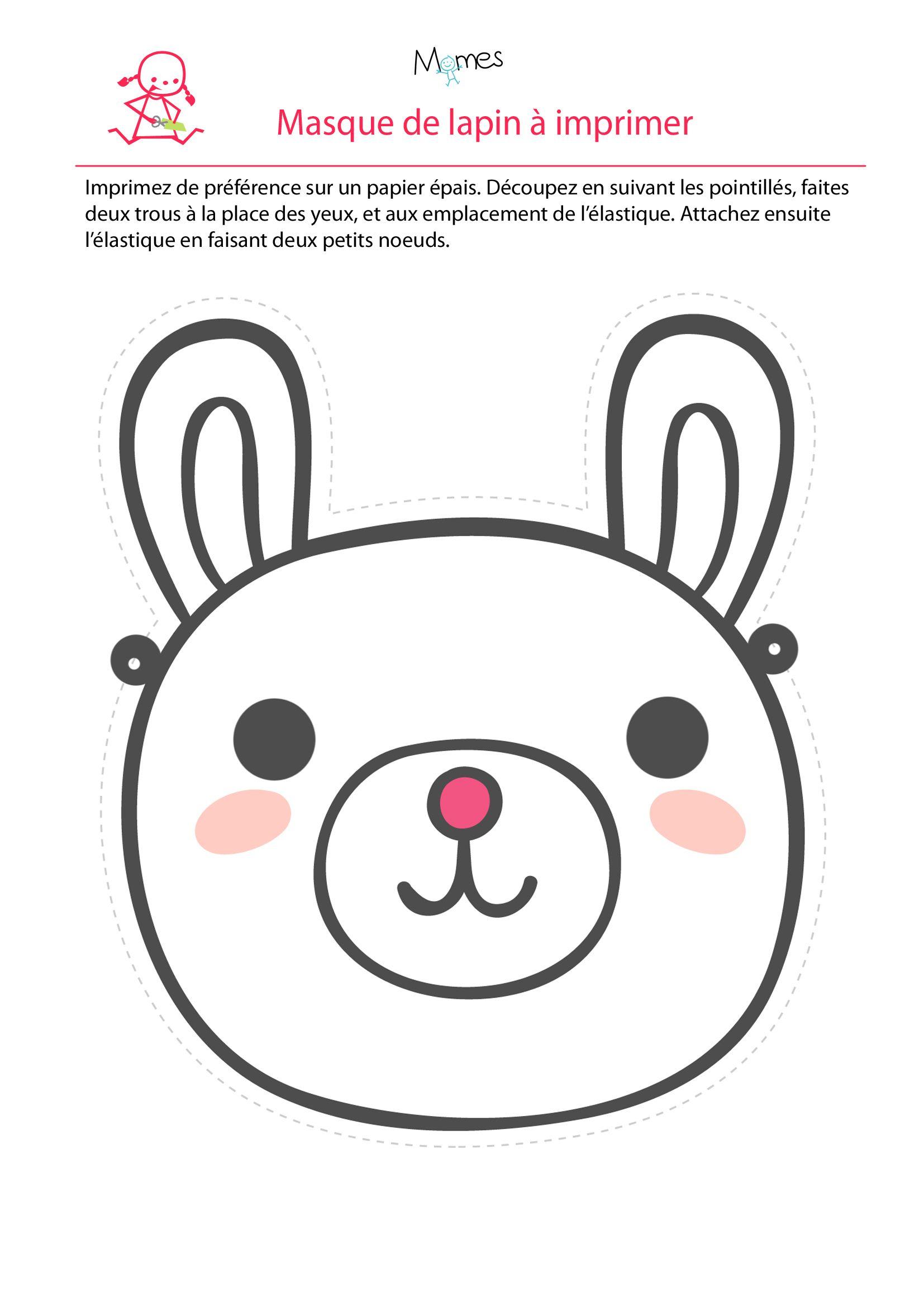Masque De Lapin | Masques À Imprimer concernant Masque De Poule À Imprimer