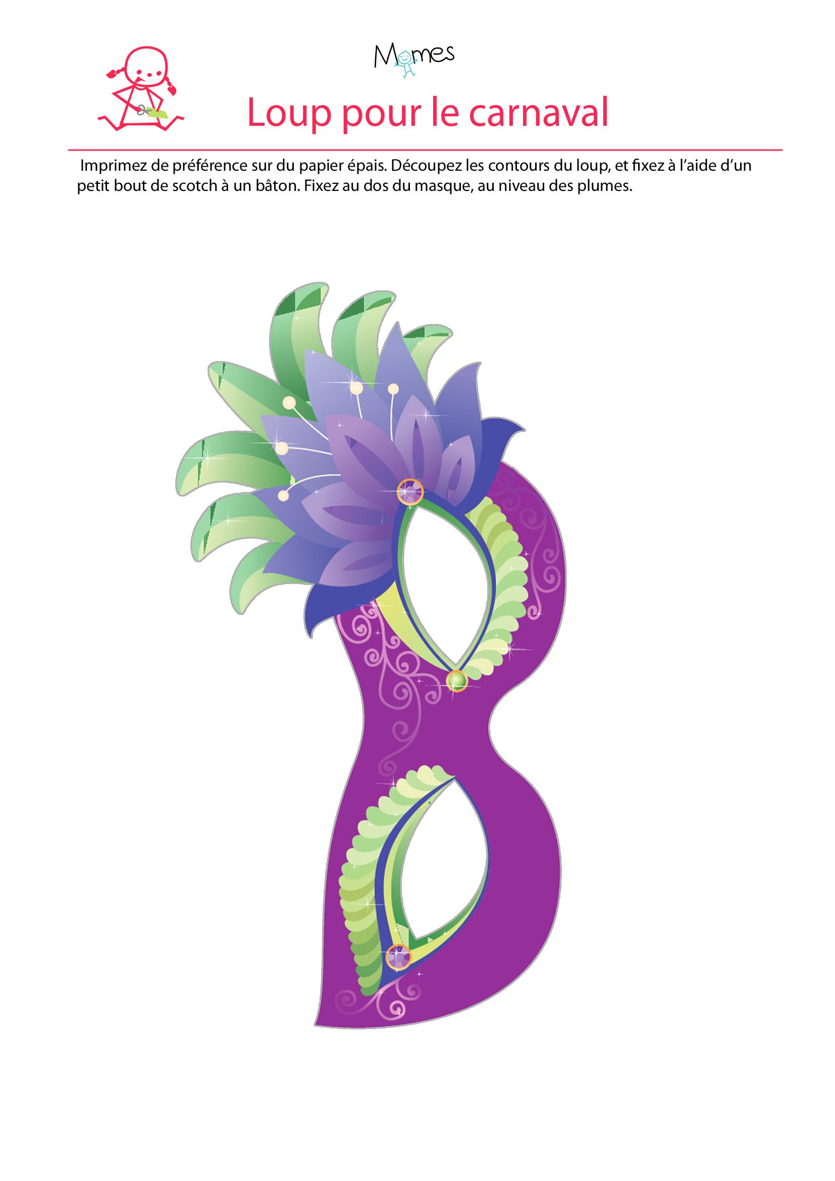 Masque Du Carnaval - Momes à Masque Enfant A Imprimer