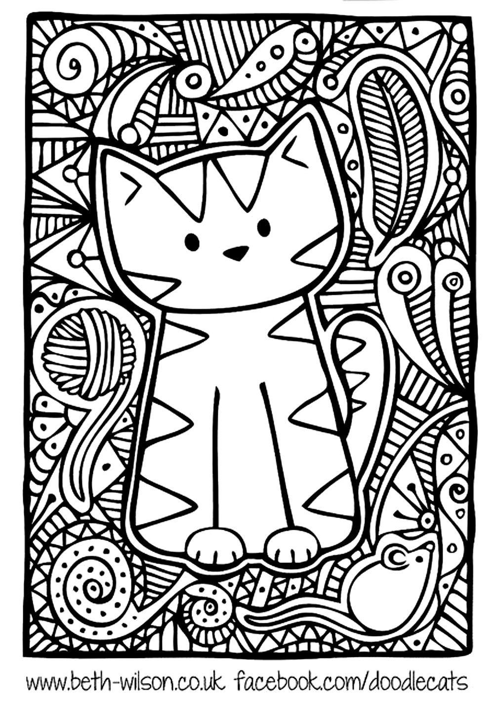 Master Pieces - Coloring Pages For Adults : Coloring à Dessin De Chat Simple