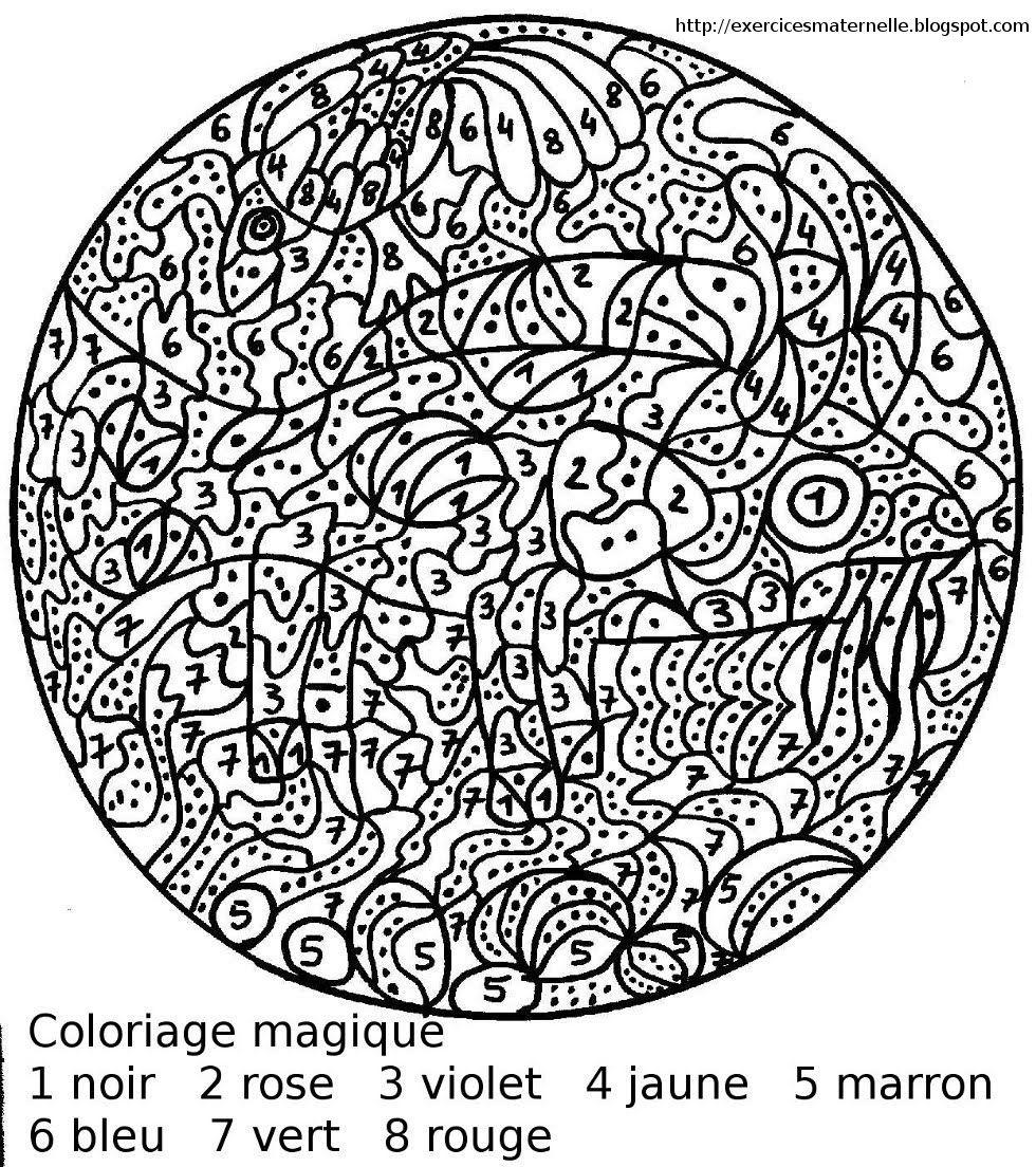 Maternelle: Coloriage Magique | Color By Numbers, Mandala dedans Dessin A Imprimer Pour Colorier