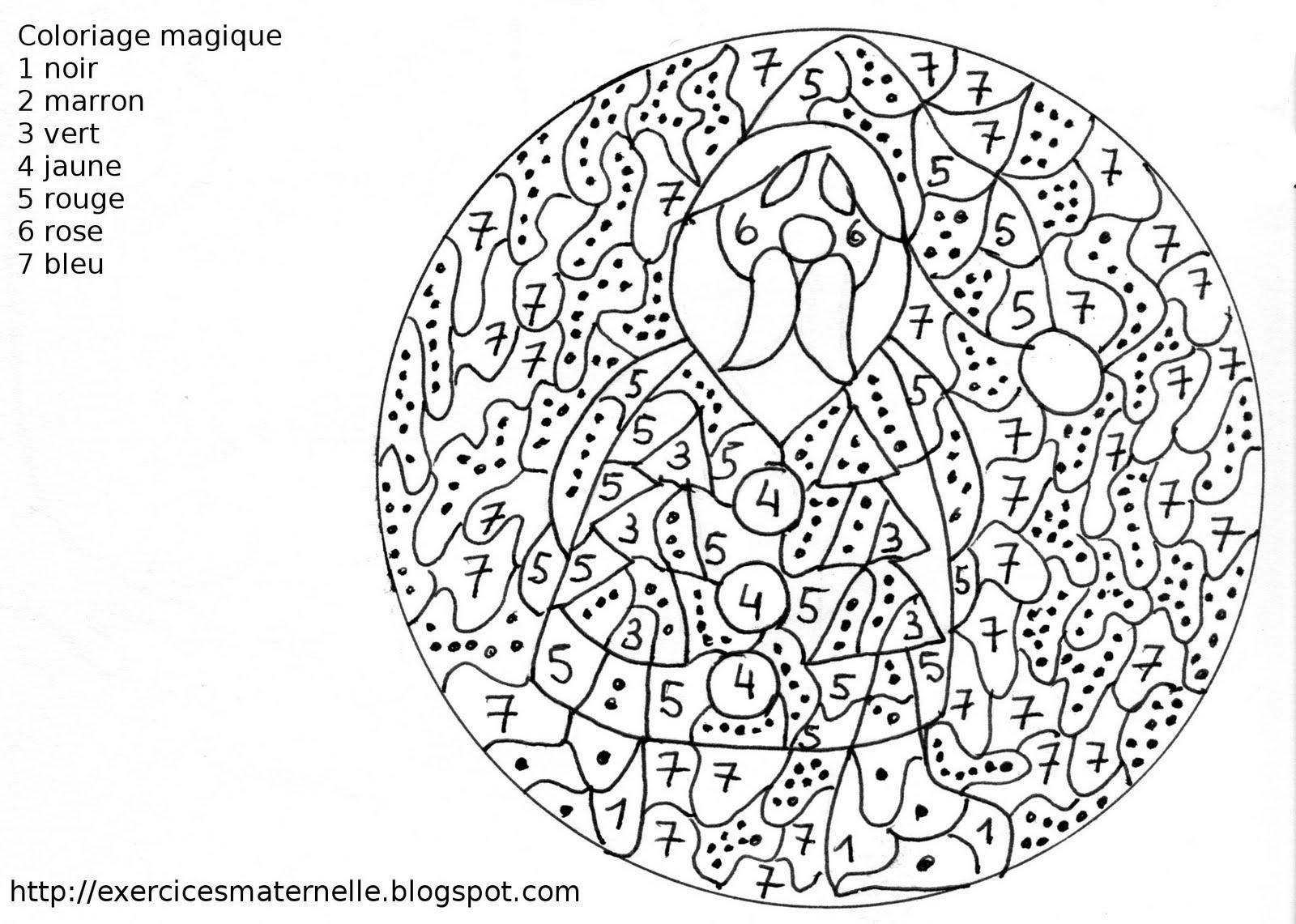 Maternelle: Coloriage Magique : Le Père Noël à Coloriage Magique Addition Maternelle
