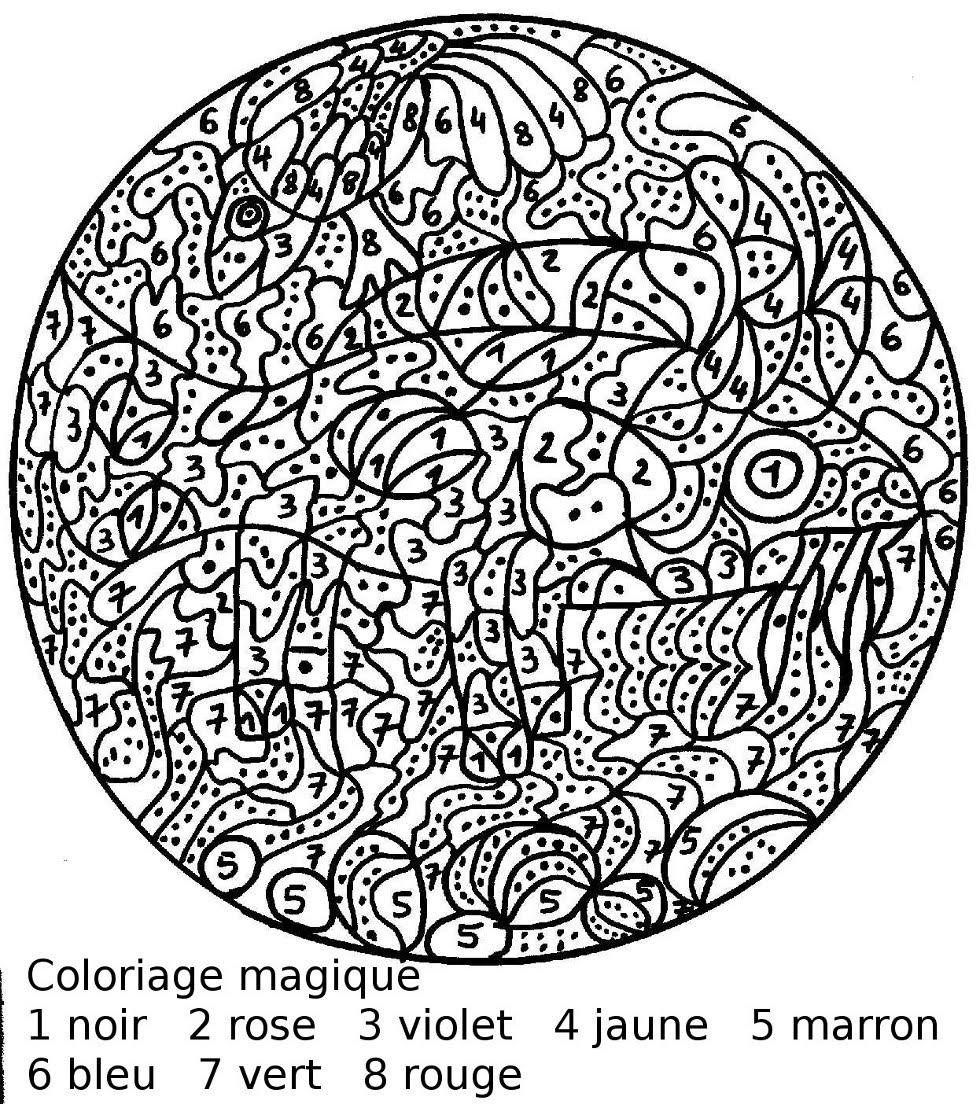 Maternelle: Coloriage Magique : Le Poisson Vache avec Coloriage Magique A Imprimer